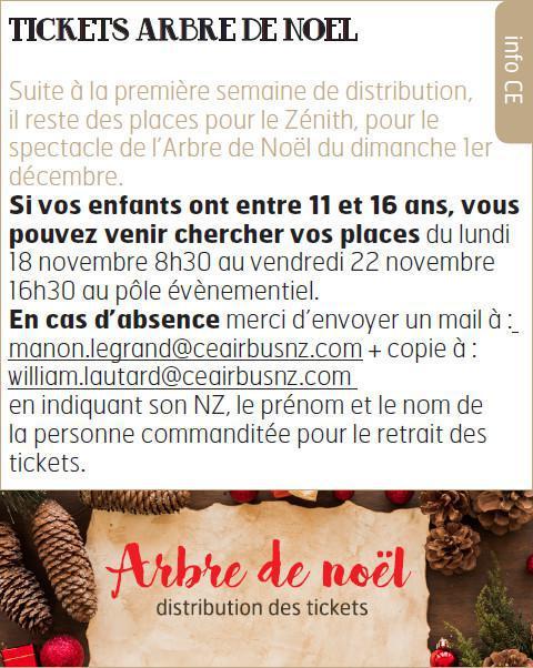 TICKETS ARBRE DE NOEL ENFANTS 11 A 16 ANS