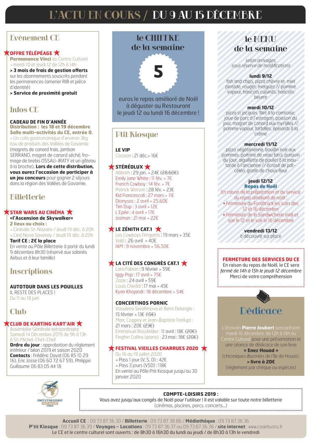 Infos CE/COOP Semaine 50