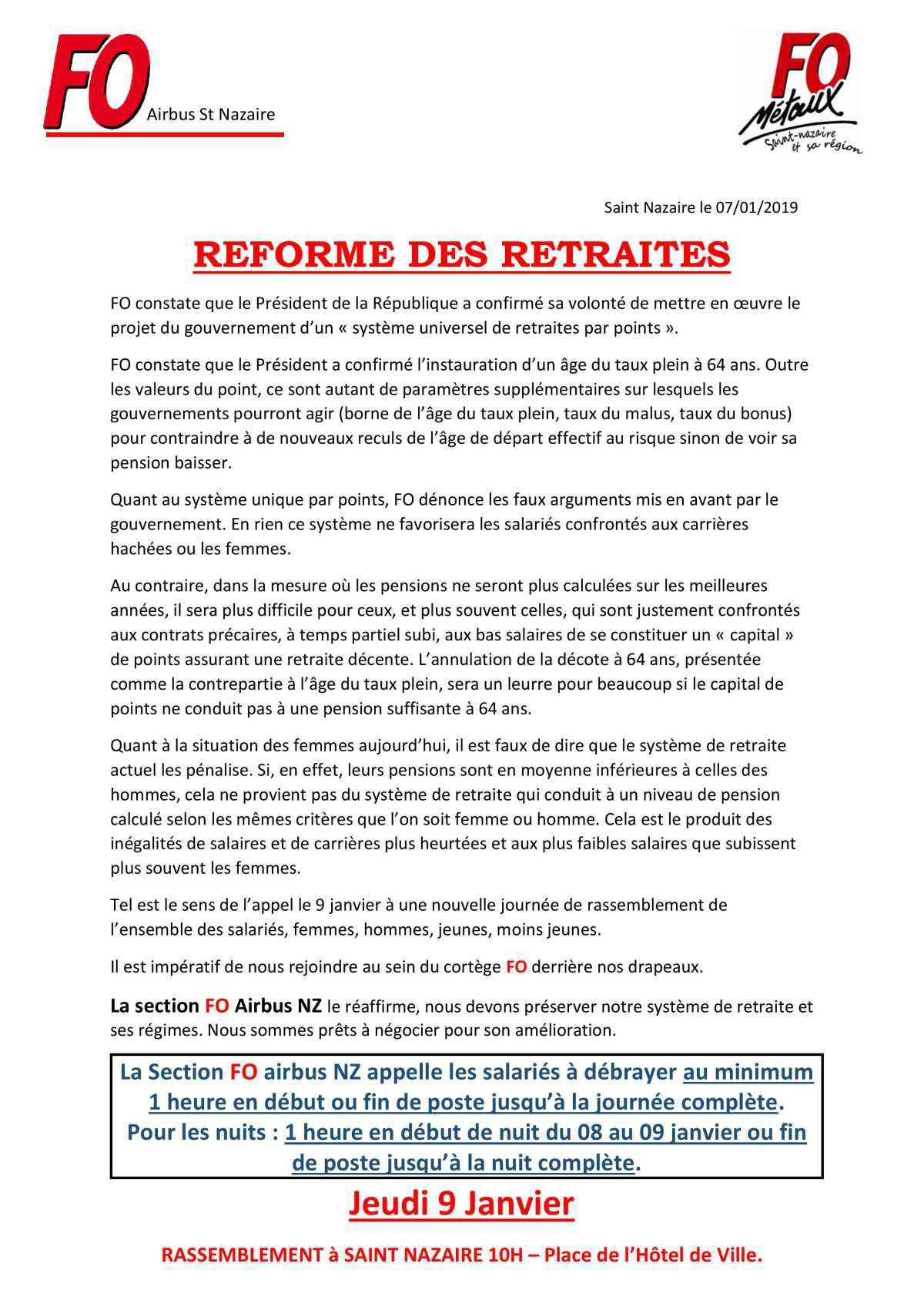 Réforme des retraites JEUDI 9 JANVIER
