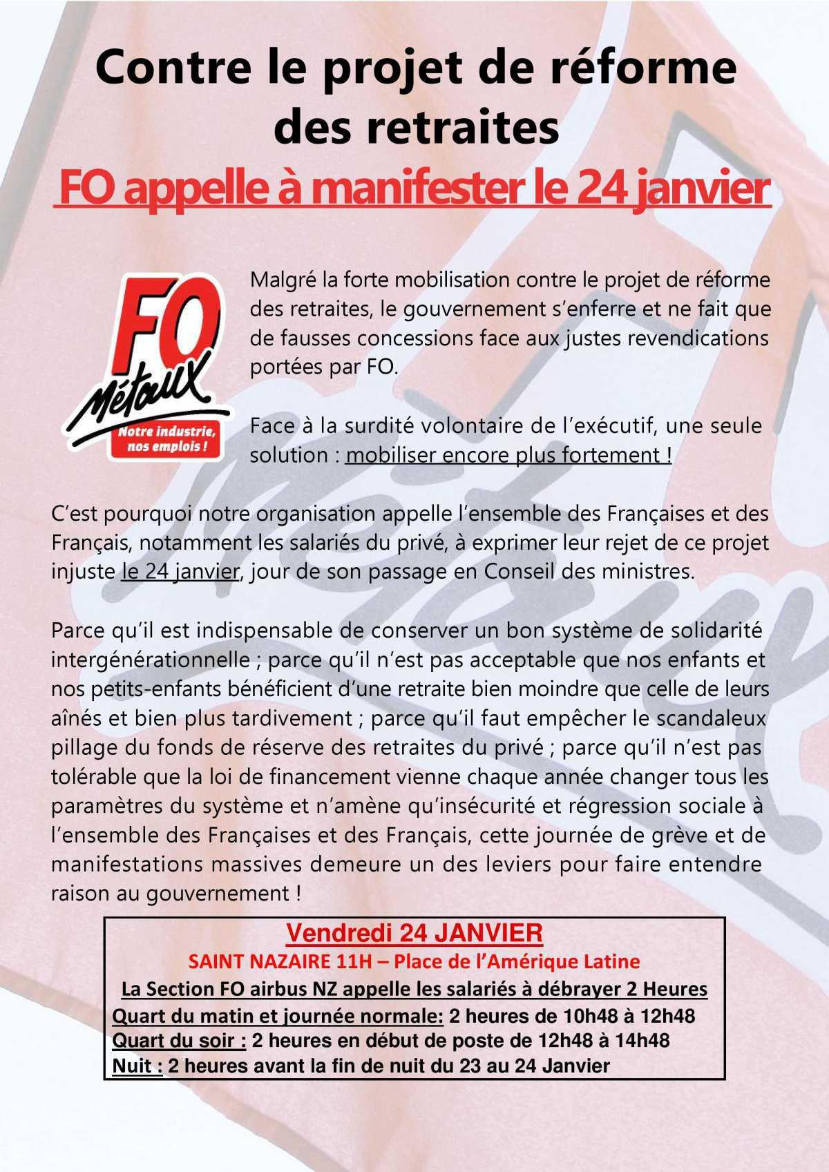 FO appelle à manifester le 24 Janvier