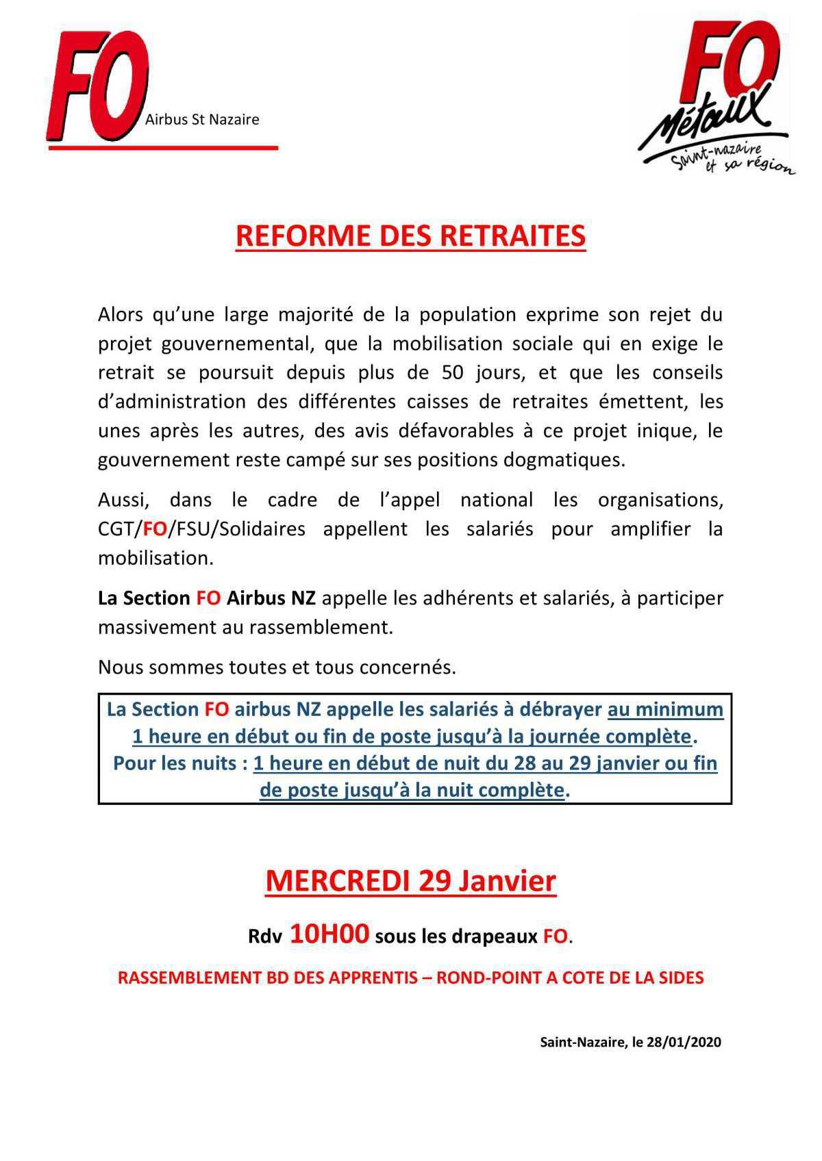 Modalités pour la manifestion du 29/01/2020 contre la réforme des retraites