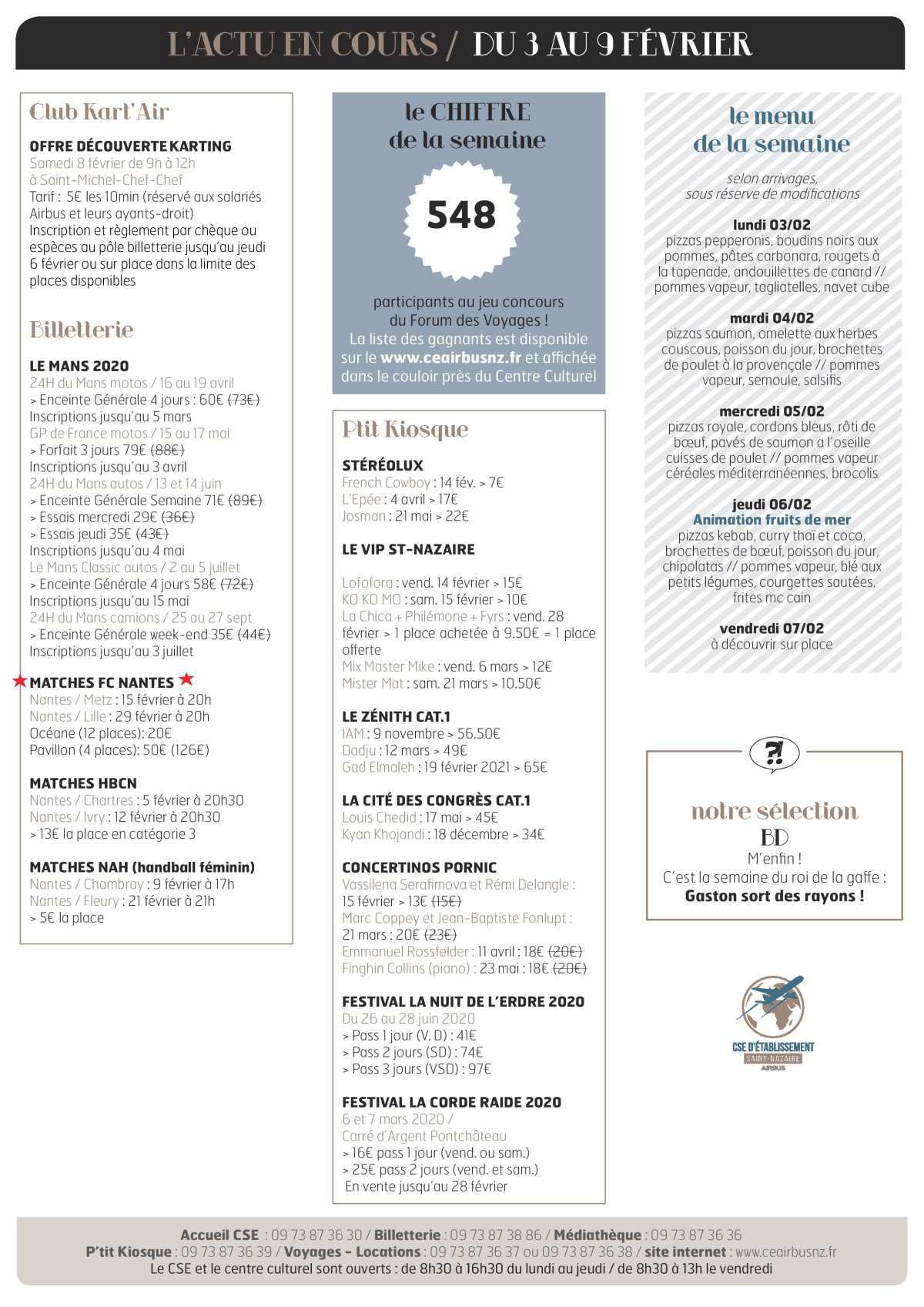 Infos CSE et COOP semaine 6
