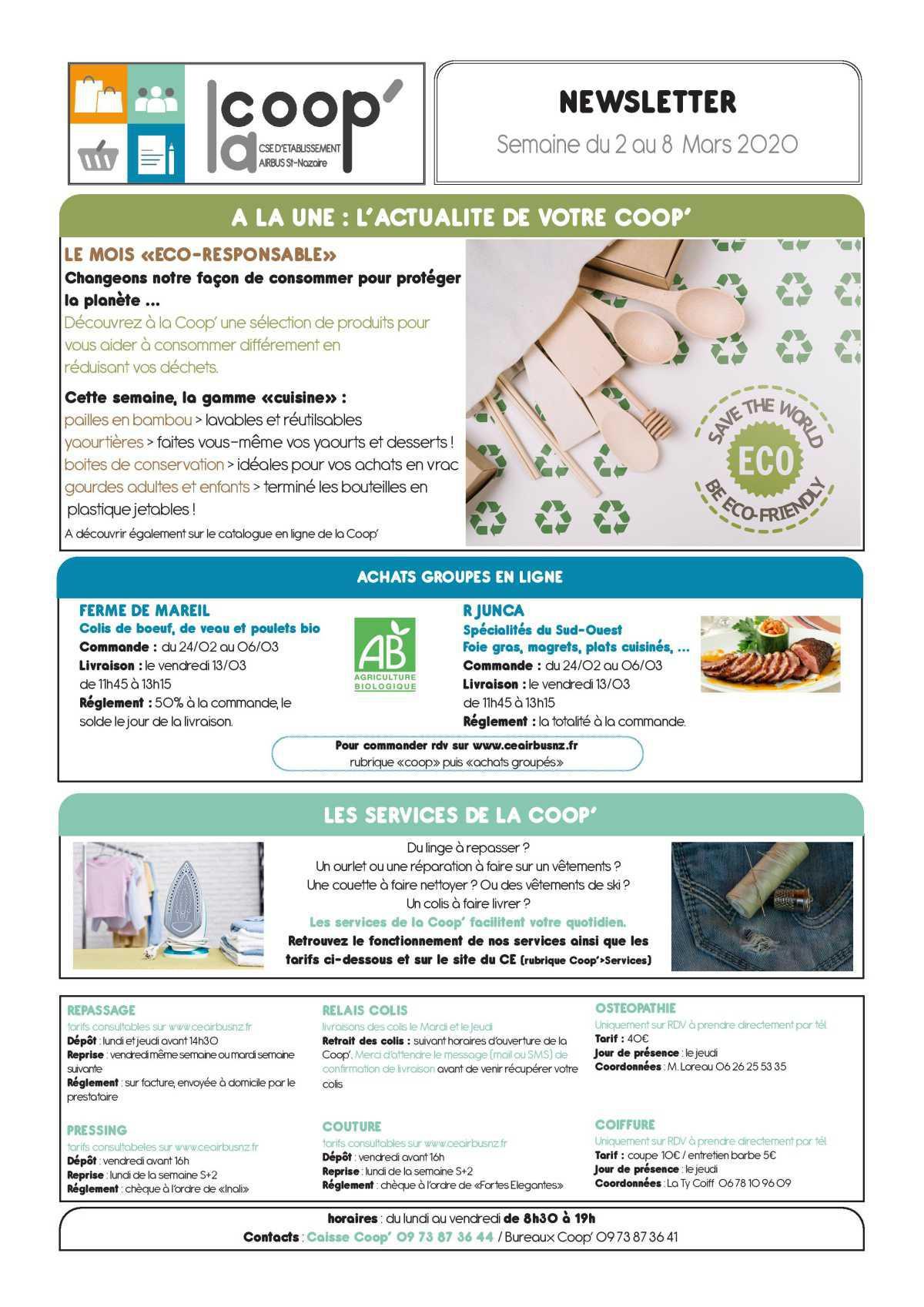 Infos CSE et COOP semaine 10