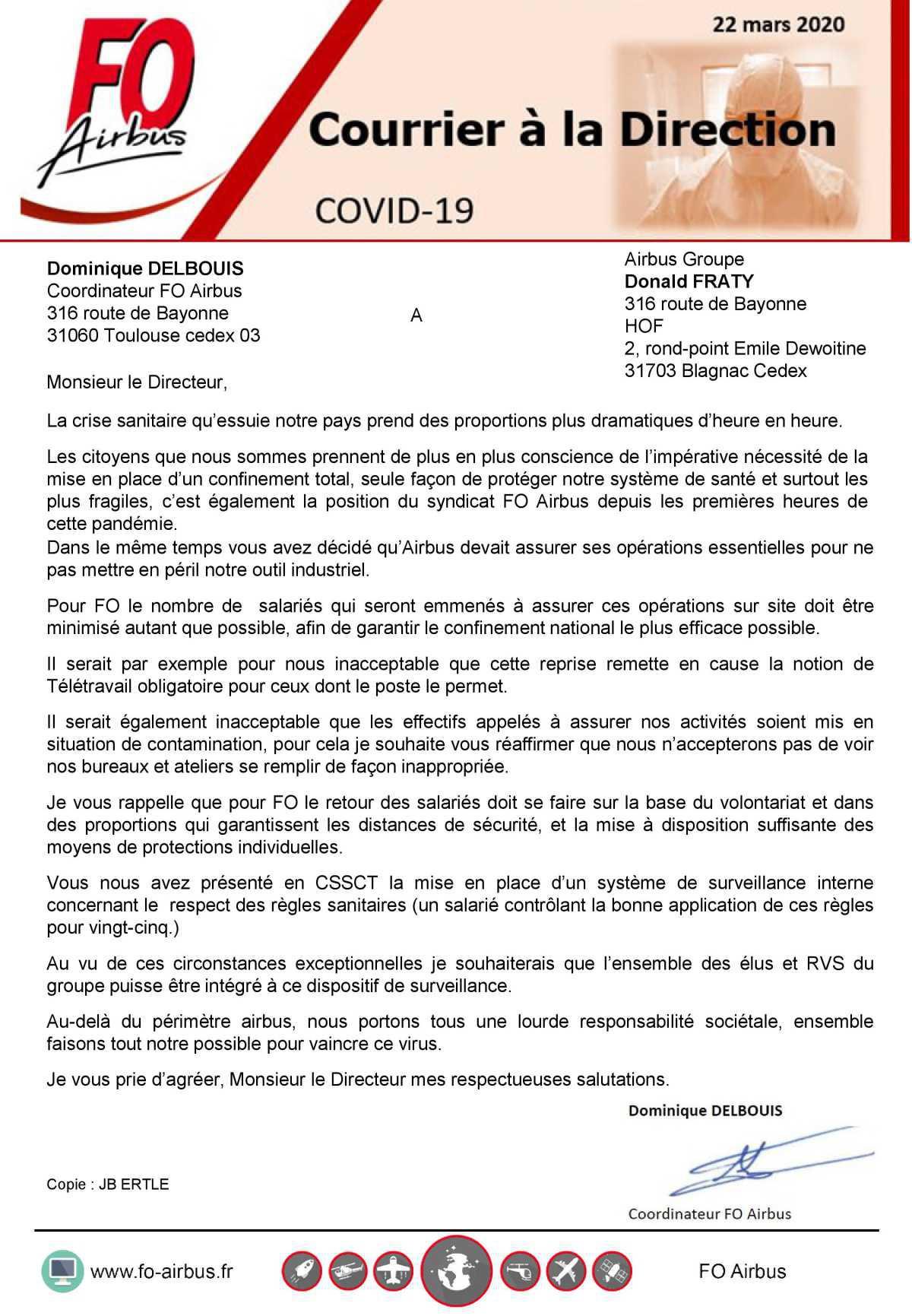 COVID-19, courrier à la Direction