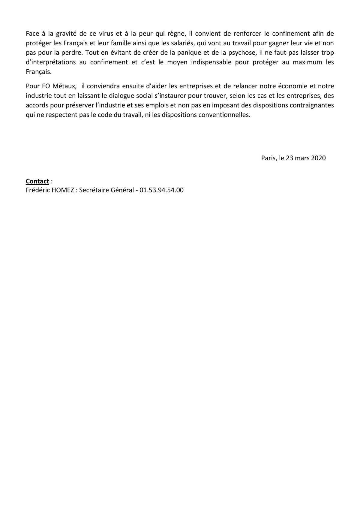 FO Métaux interpelle l'Etat sur le confinement