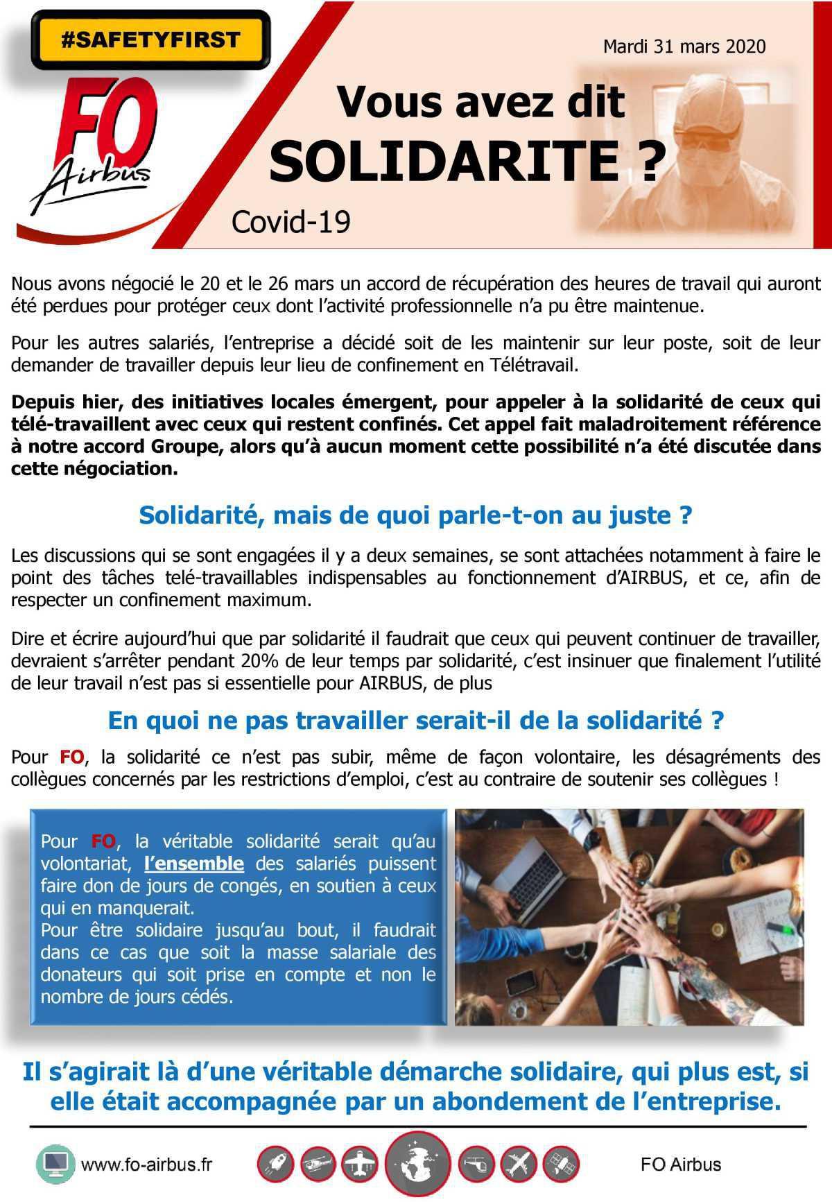Vous avez dit solidarité ? COVID 19