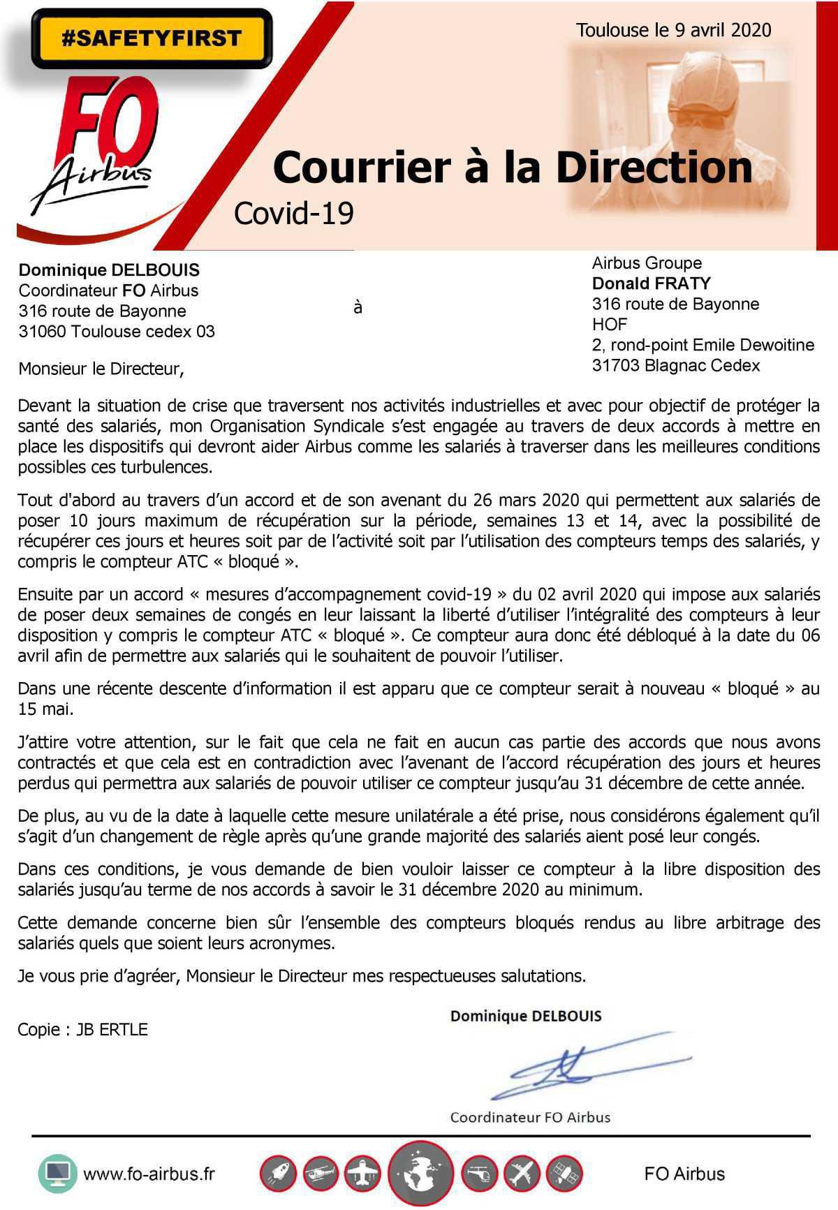 Courrier à la Direction - COVID 19