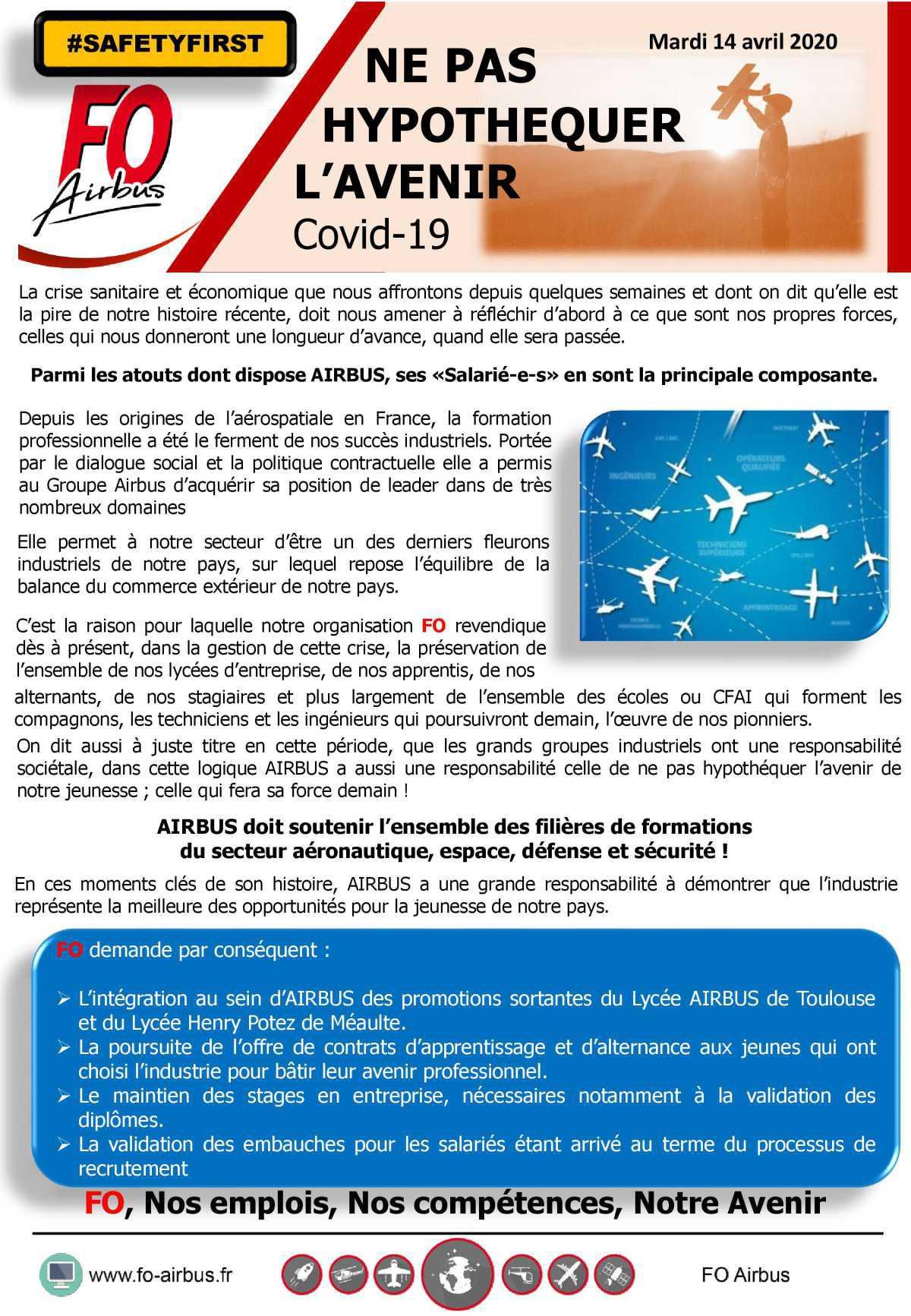 Ne pas hypothéquer l'avenir - COVID 19