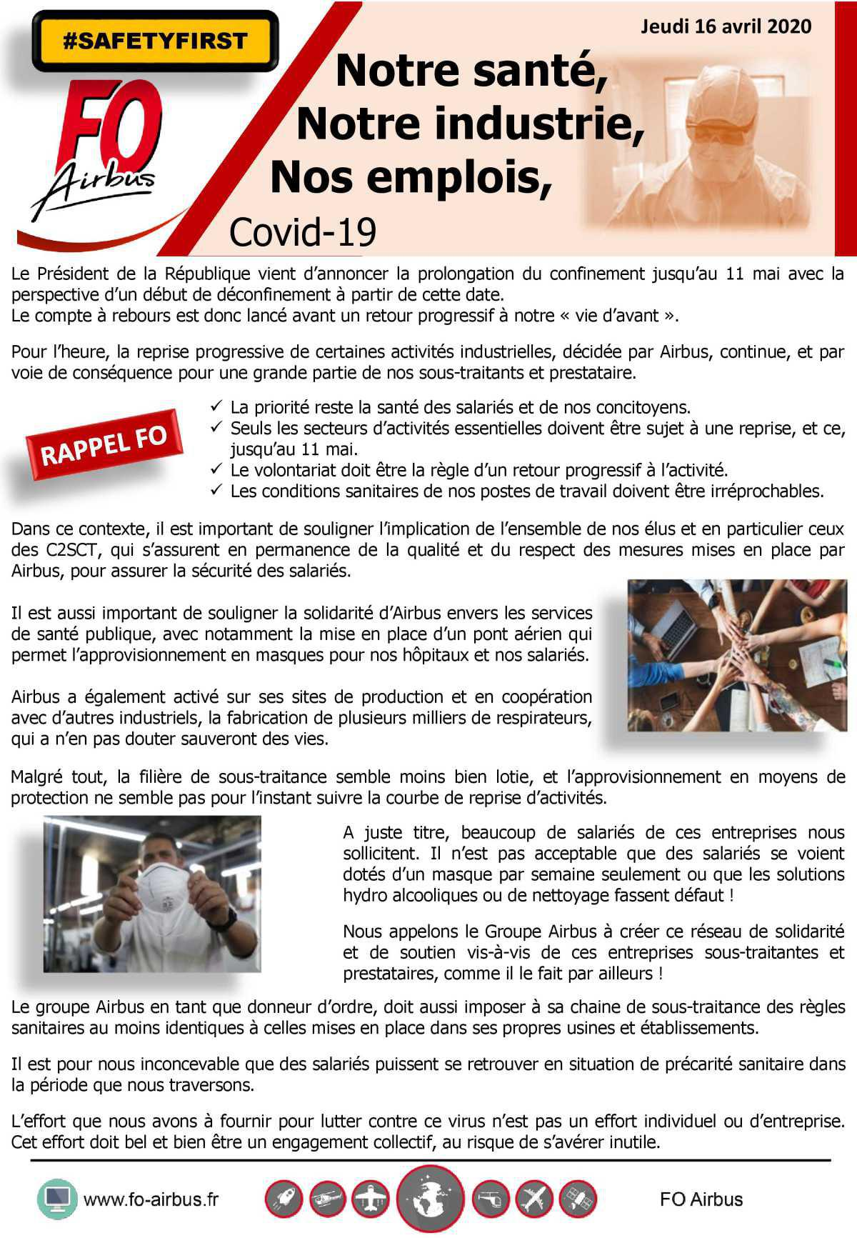 Notre santé, Notre industrie, Nos emplois - COVID 19