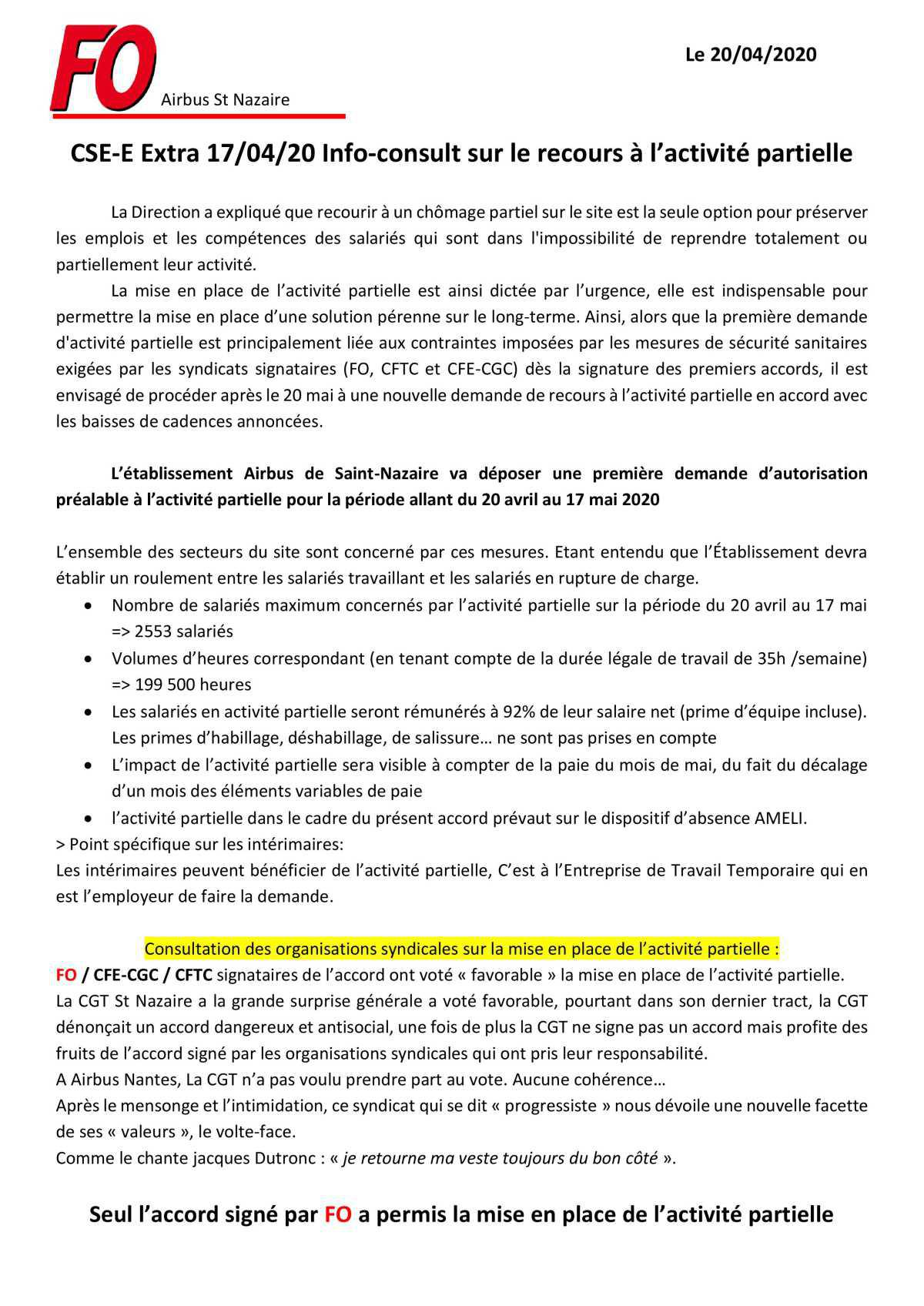 CSE-E Extra du 17/04/20 sur le recours à l'activité partielle