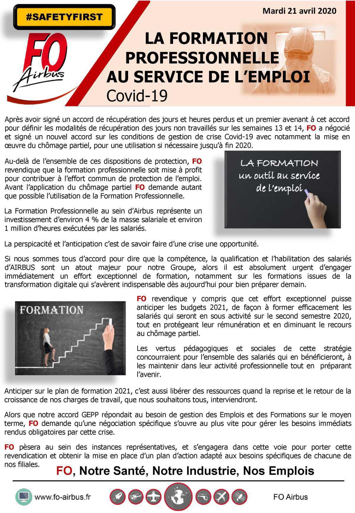 La formation professionnelle au service de l'emploi - COVID 19