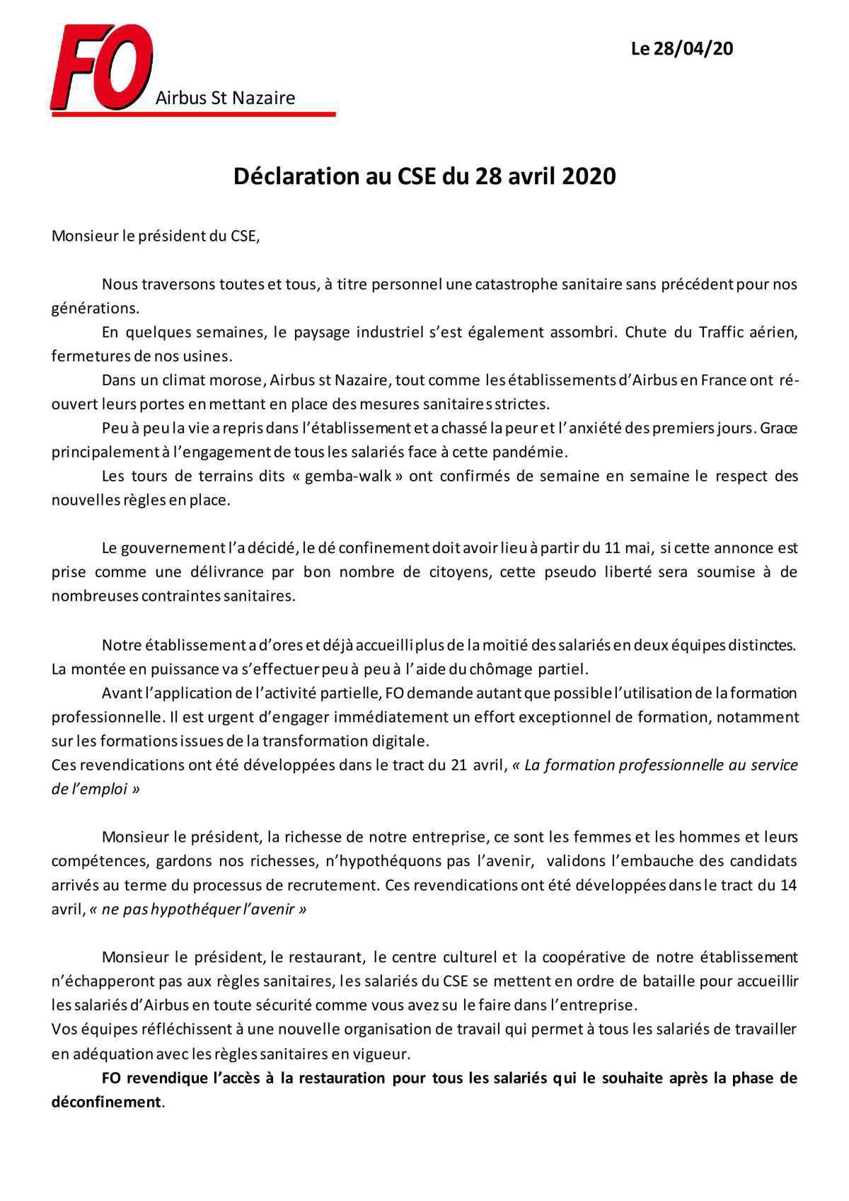 Déclaration au CSE-E du 28/04/2020