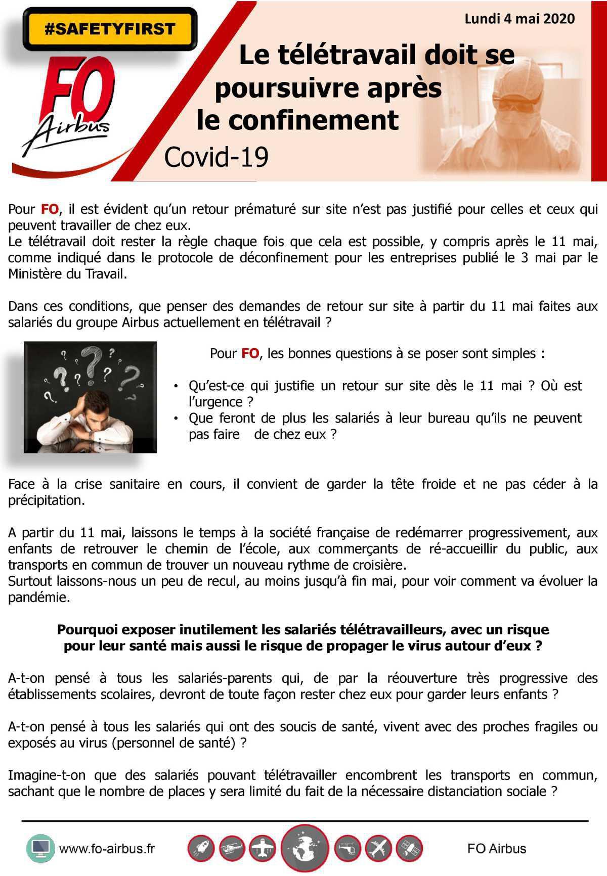 Le télétravail doit continuer après le confinement - COVID 19