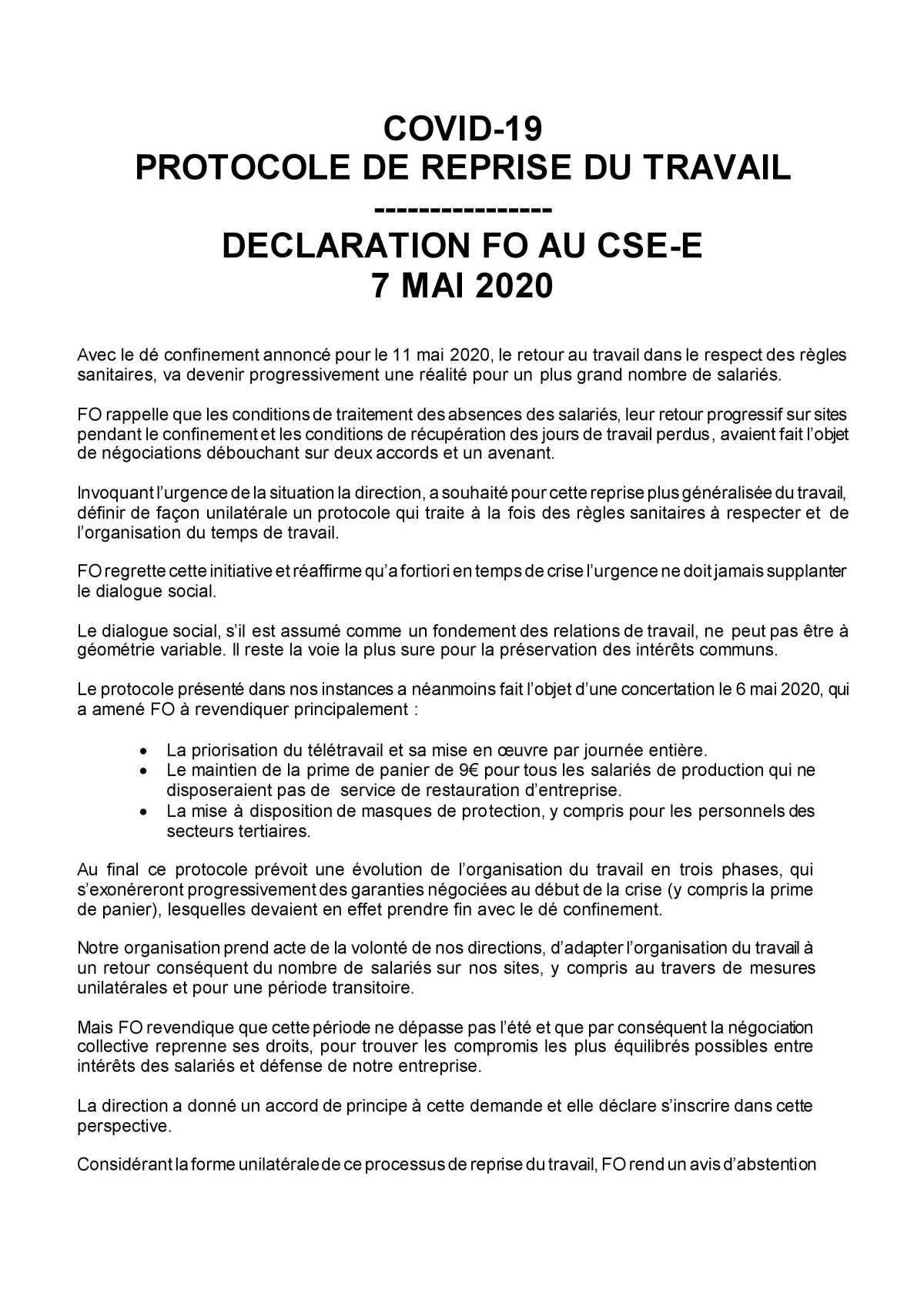 Déclaration au CSE du 7 mai 2020
