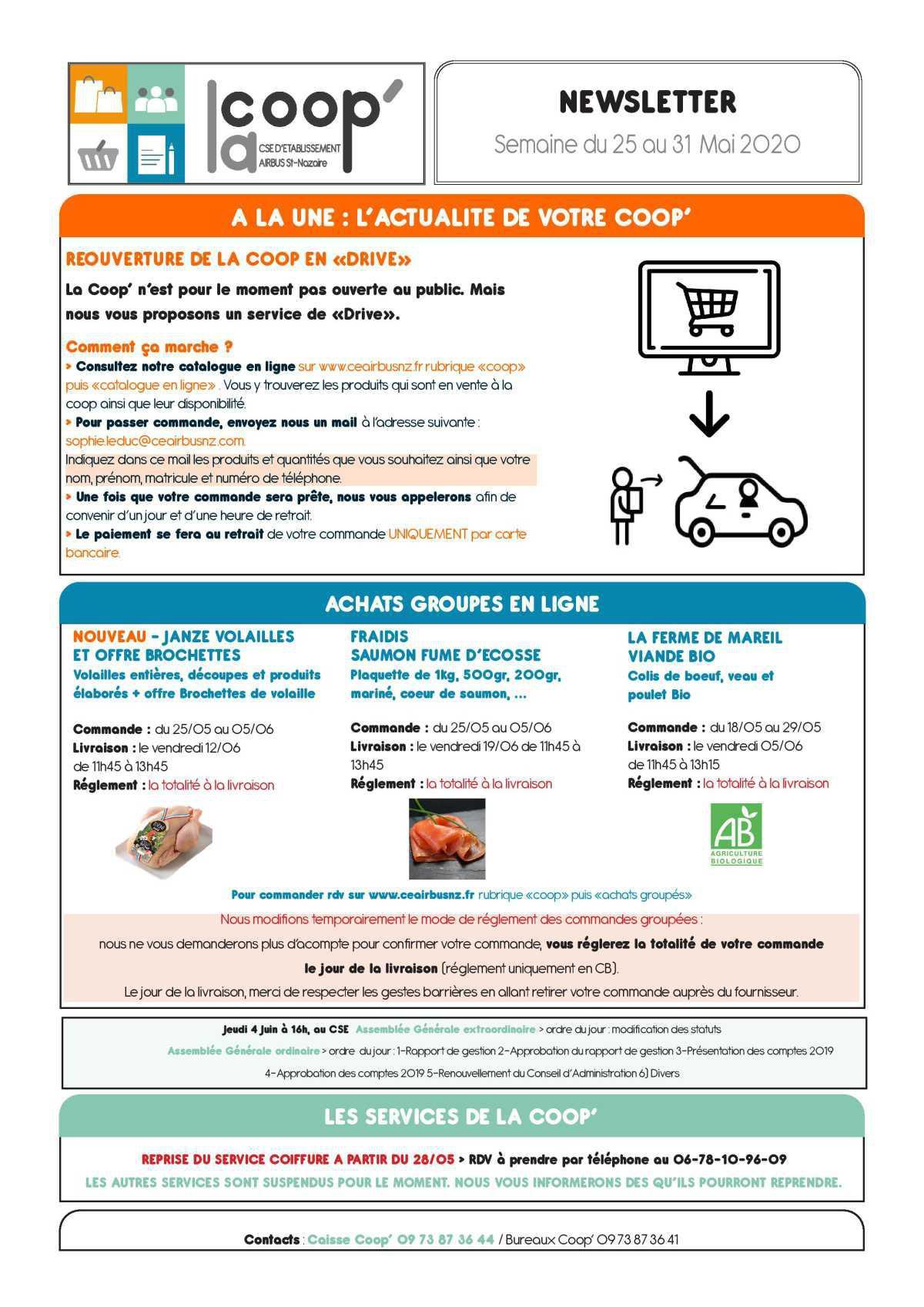 Infos CSE / COOP semaine 22