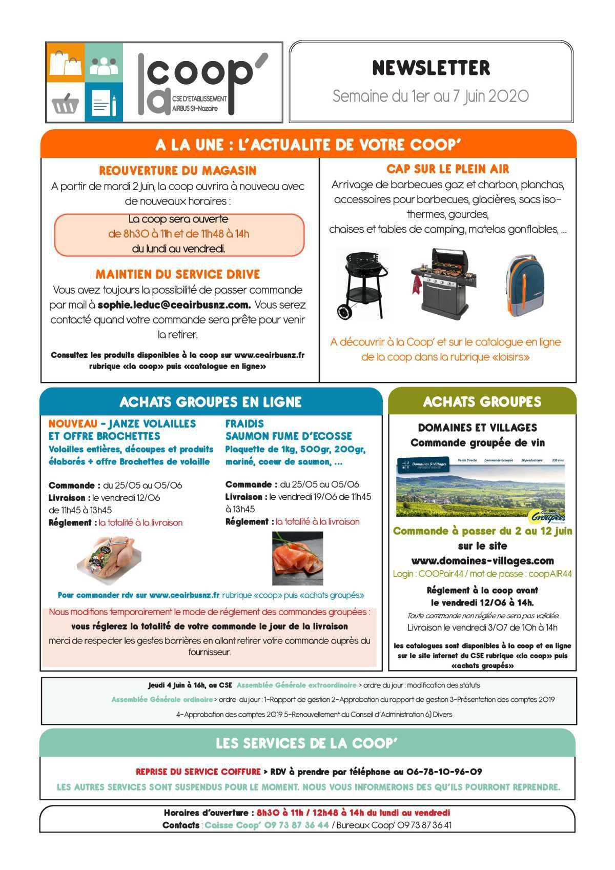 Infos CSE/COOP semaine 23