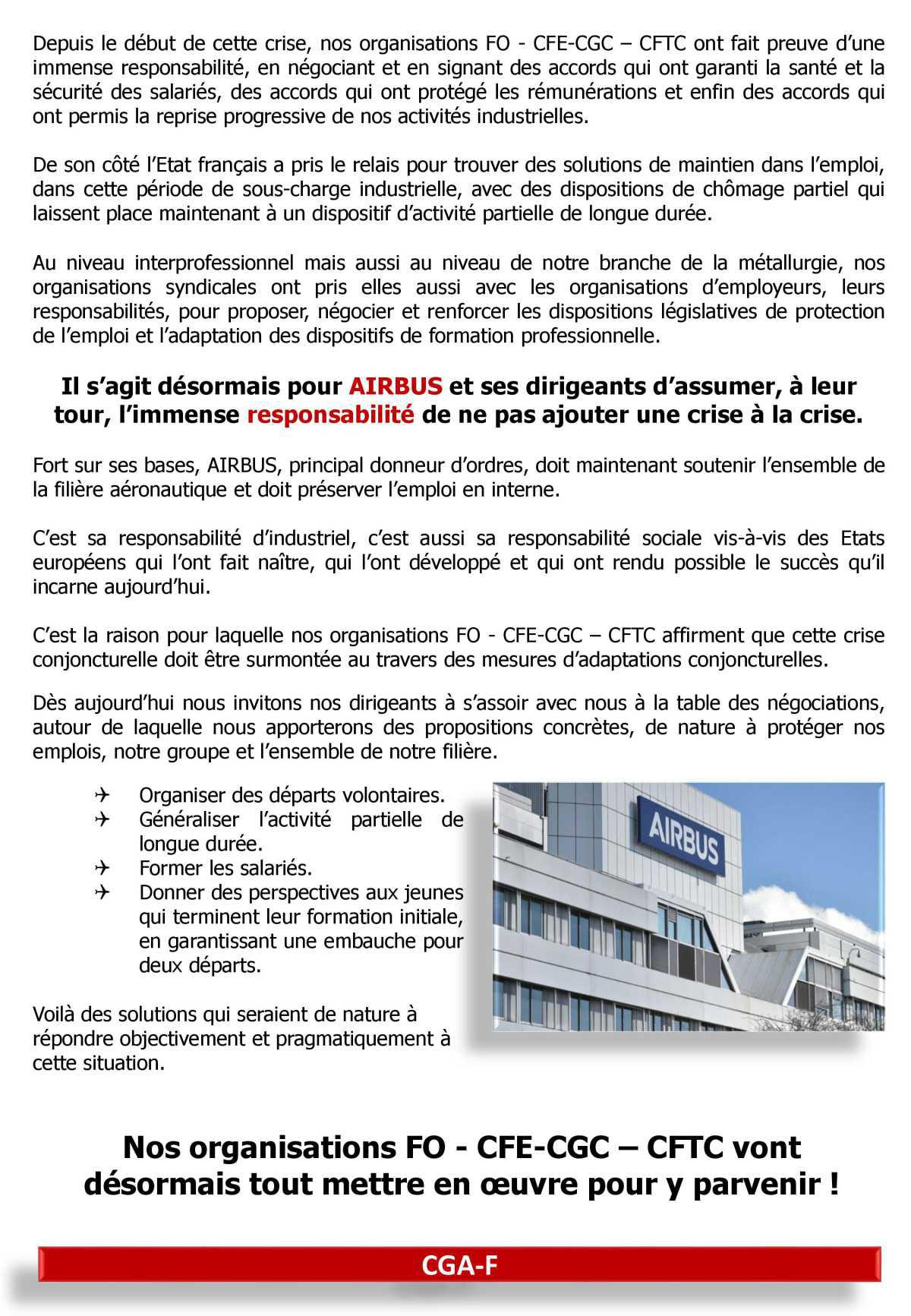 Déclaration CGA-F : FO - CFE-CGC - CFTC