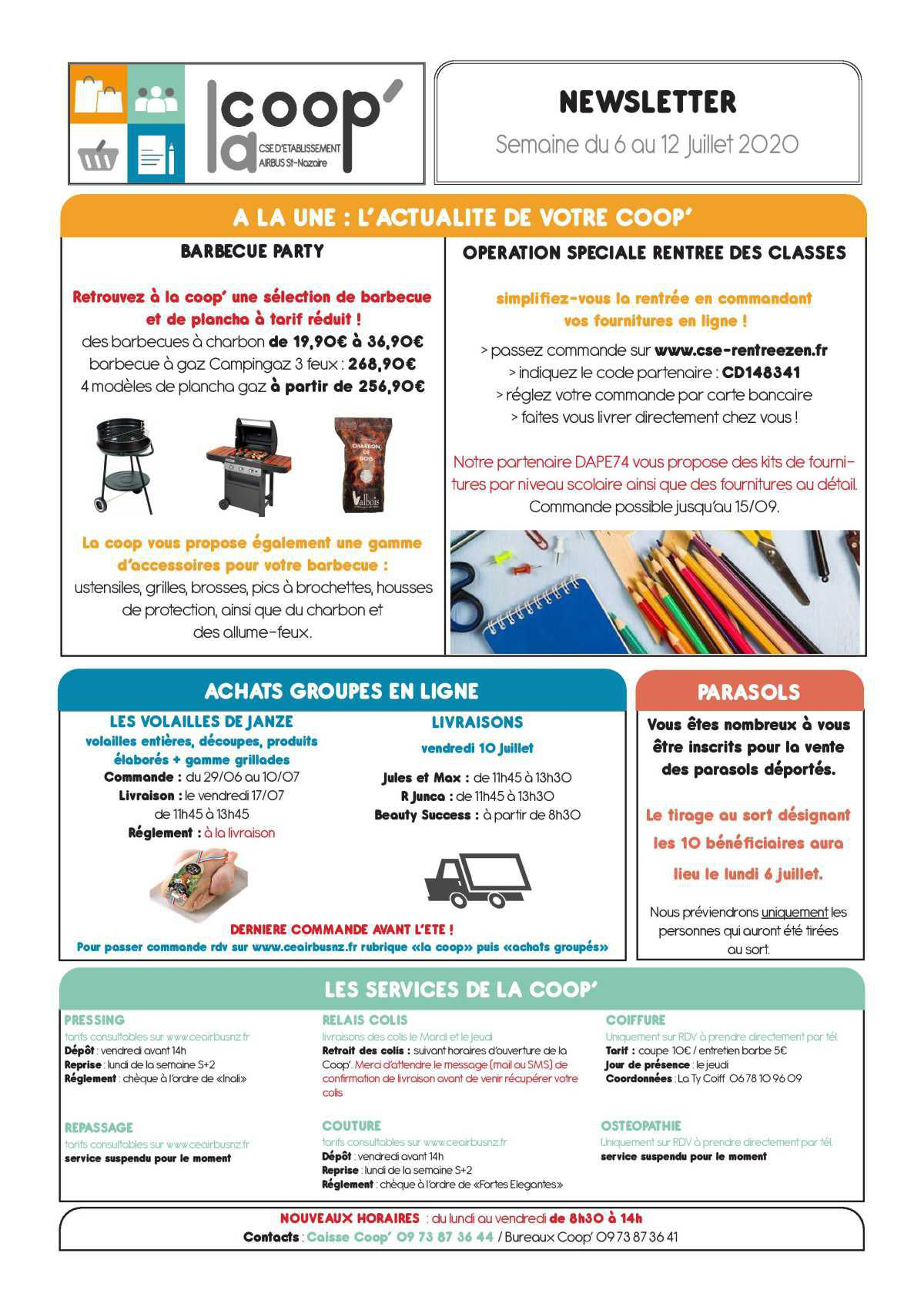 Infos CSE et COOP semaine 28