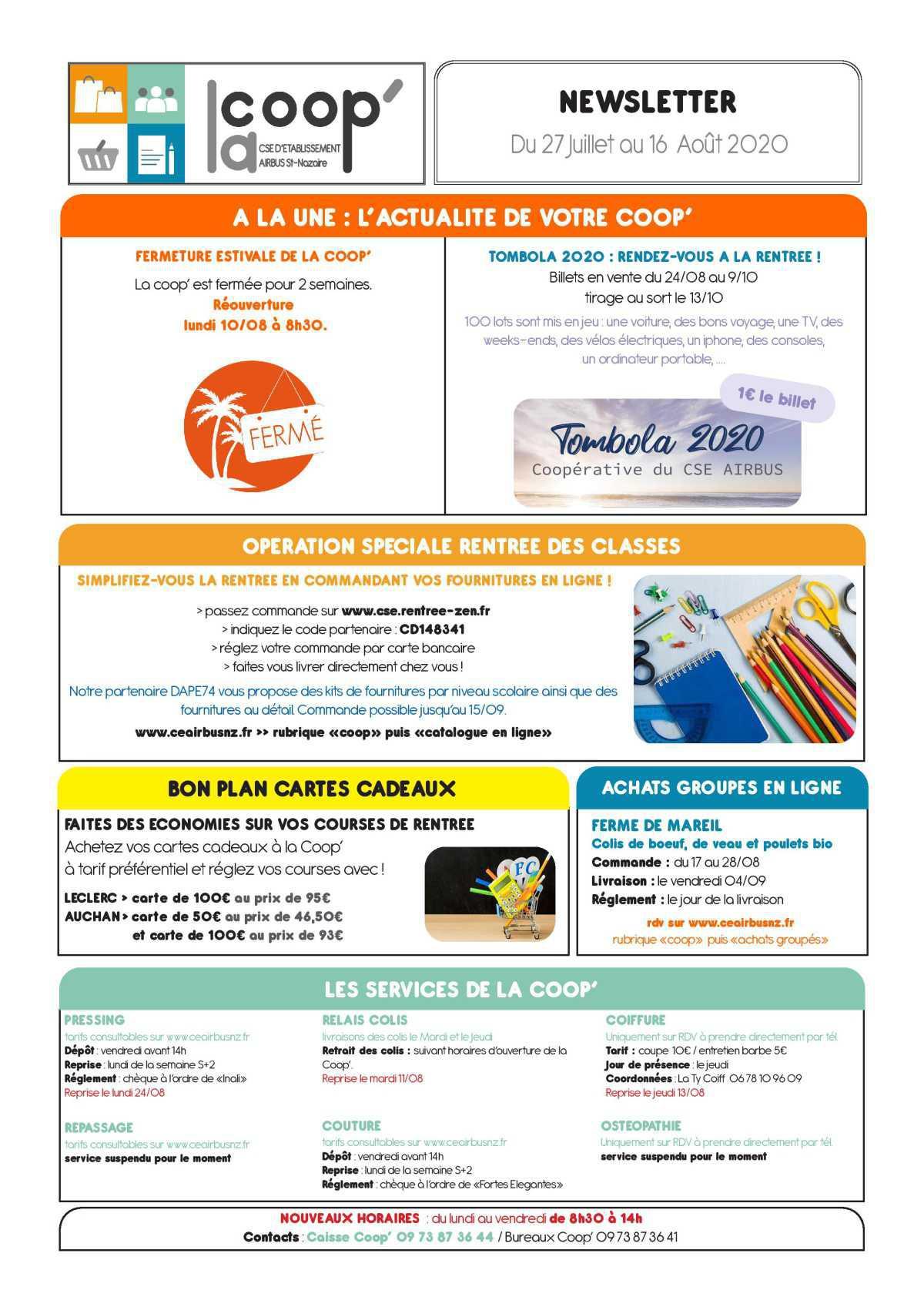 Infos CSE / COOP Semaines 31,32,33