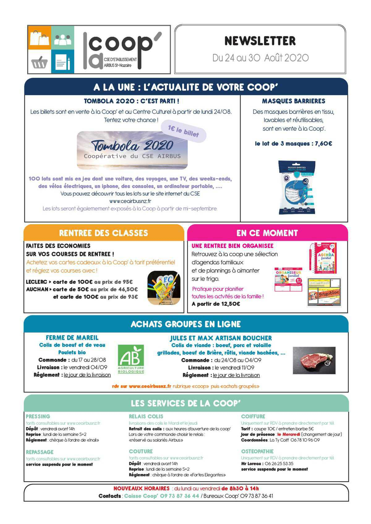 Infos CSE / COOP semaine 35