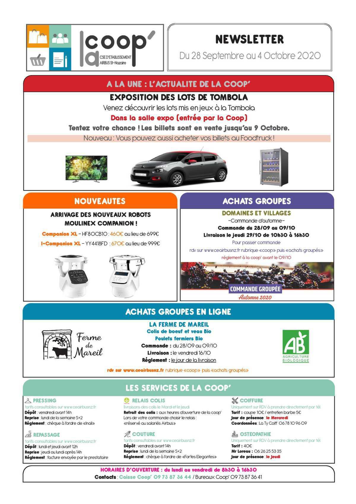 Infos CSE / COOP semaine 40