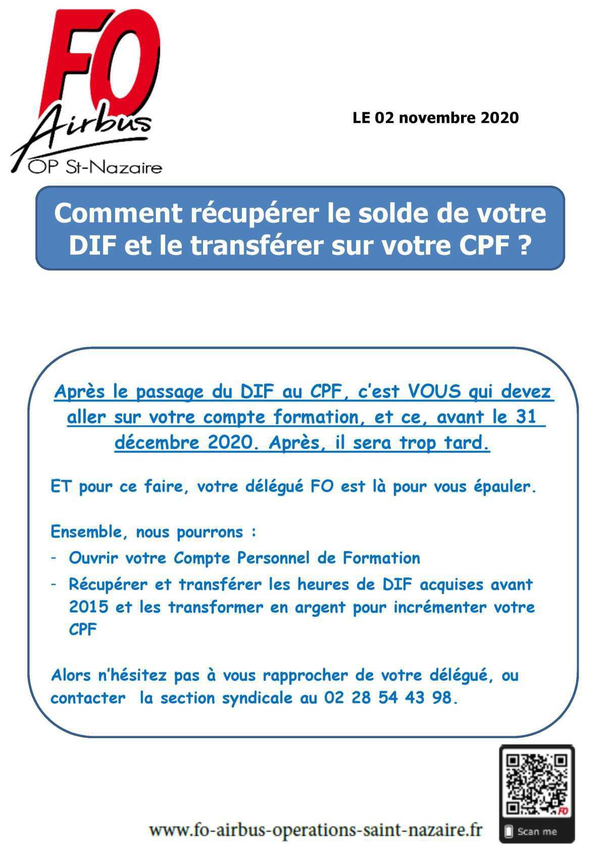 Utilisation du CPF et récupération des heures de DIF