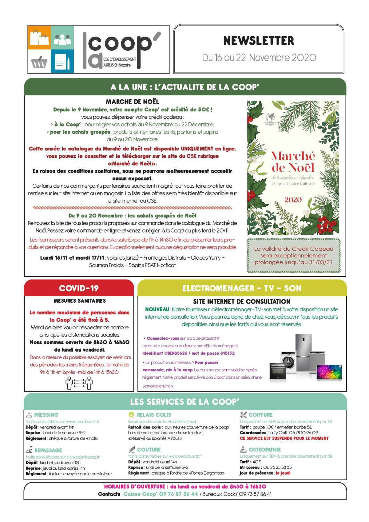 Informations du CSE et de la COOP semaine 47