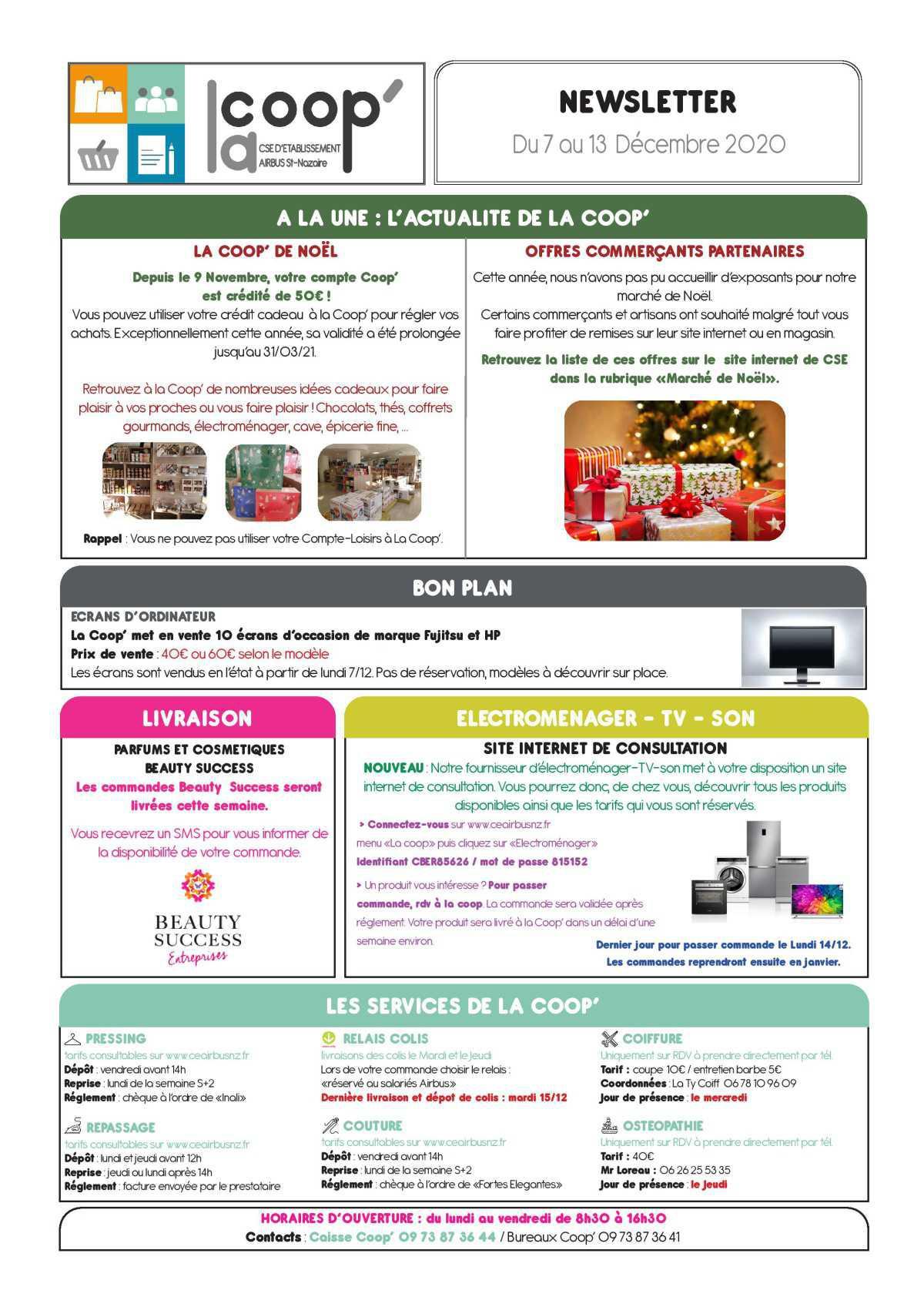 Informations du CSE et de la COOP semaine 50