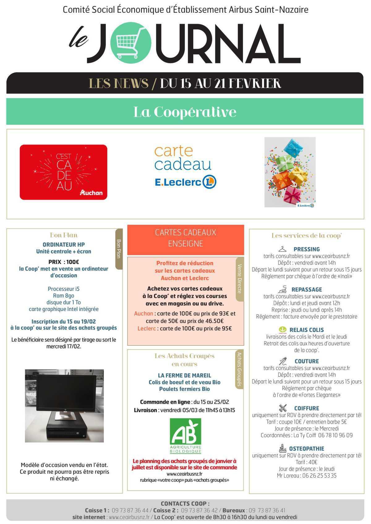 Informations du CSE et de la coopérative semaine 7
