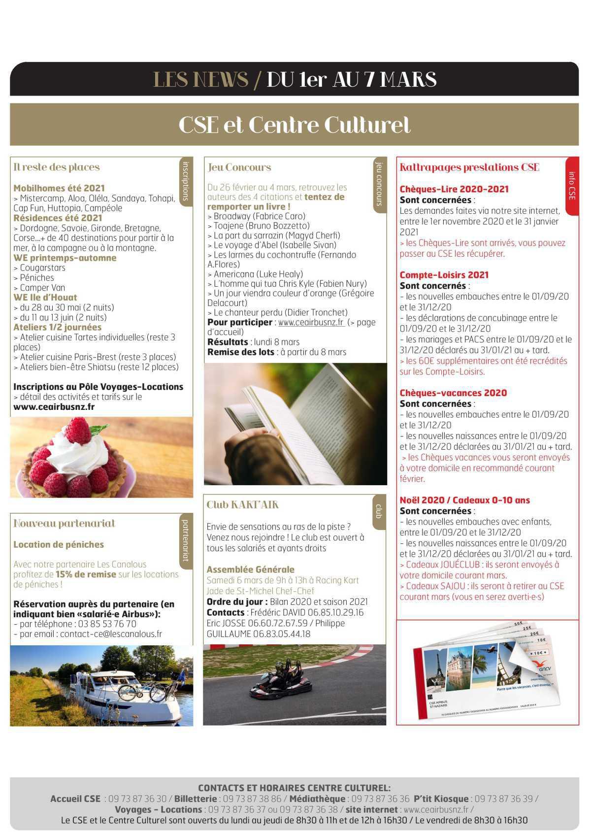 Informations du CSE et de la coopérative semaine 9