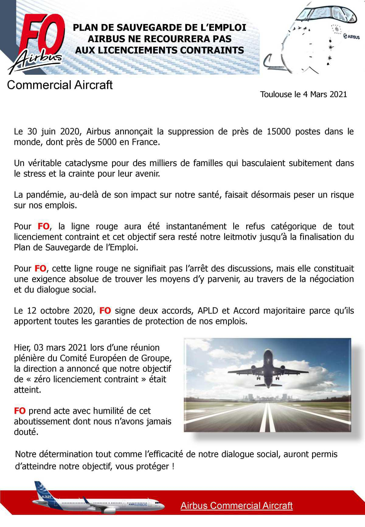 PSE : pas de licenciement contraint chez Airbus
