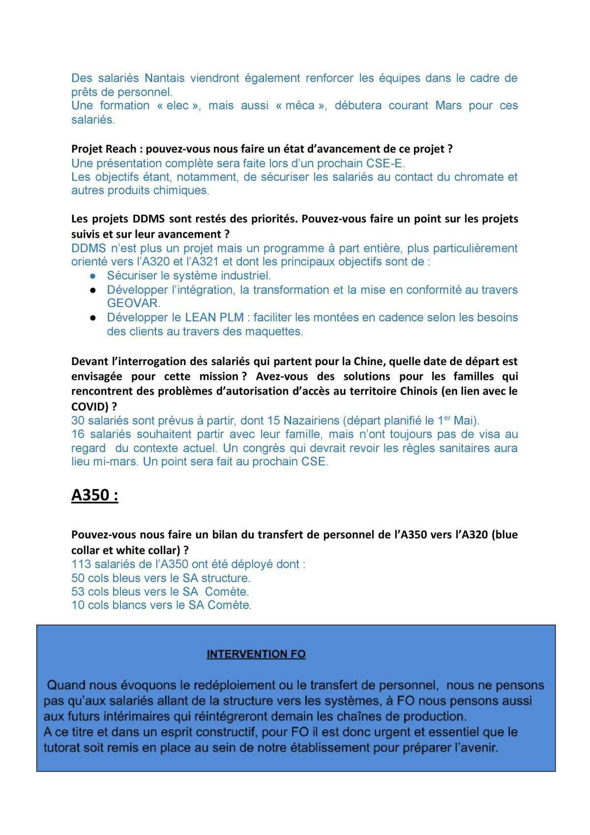 Compte rendu du Comité Social Economique du 26 Février 2021