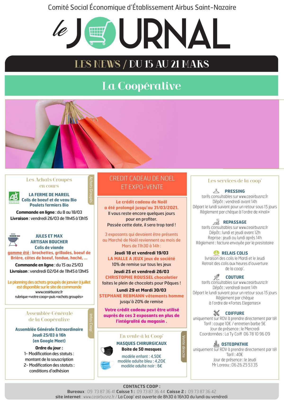 Informations du CSE et de la coopérative semaine 11