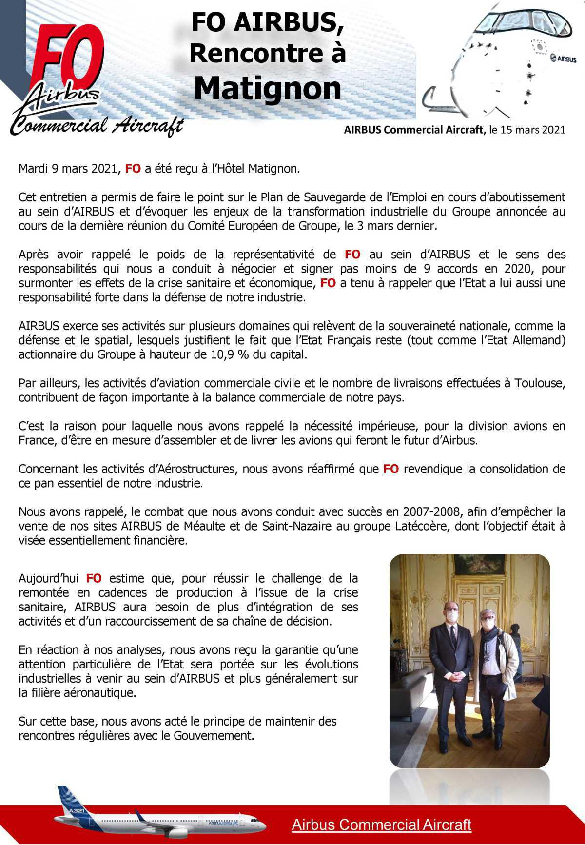 FO Airbus reçu à Matignon