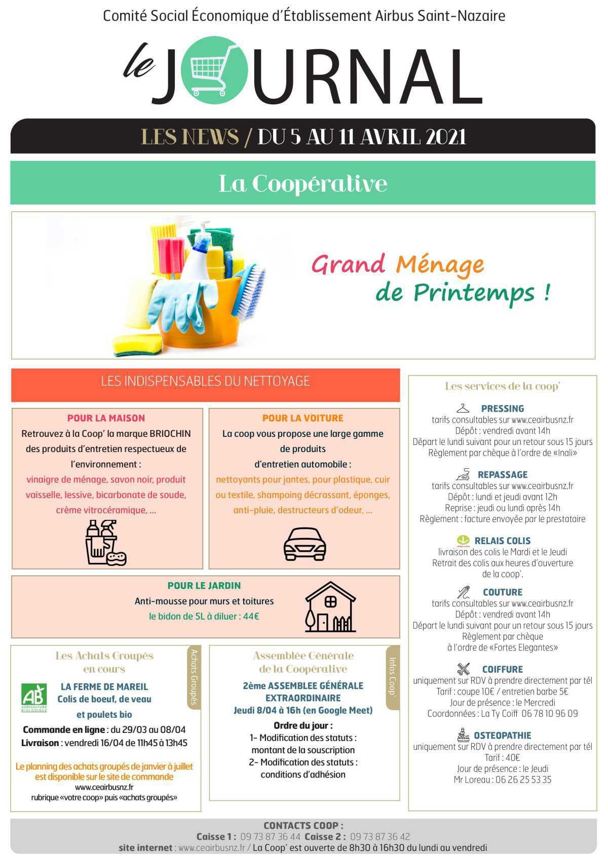 Informations du CSE et de la coopérative semaine 14