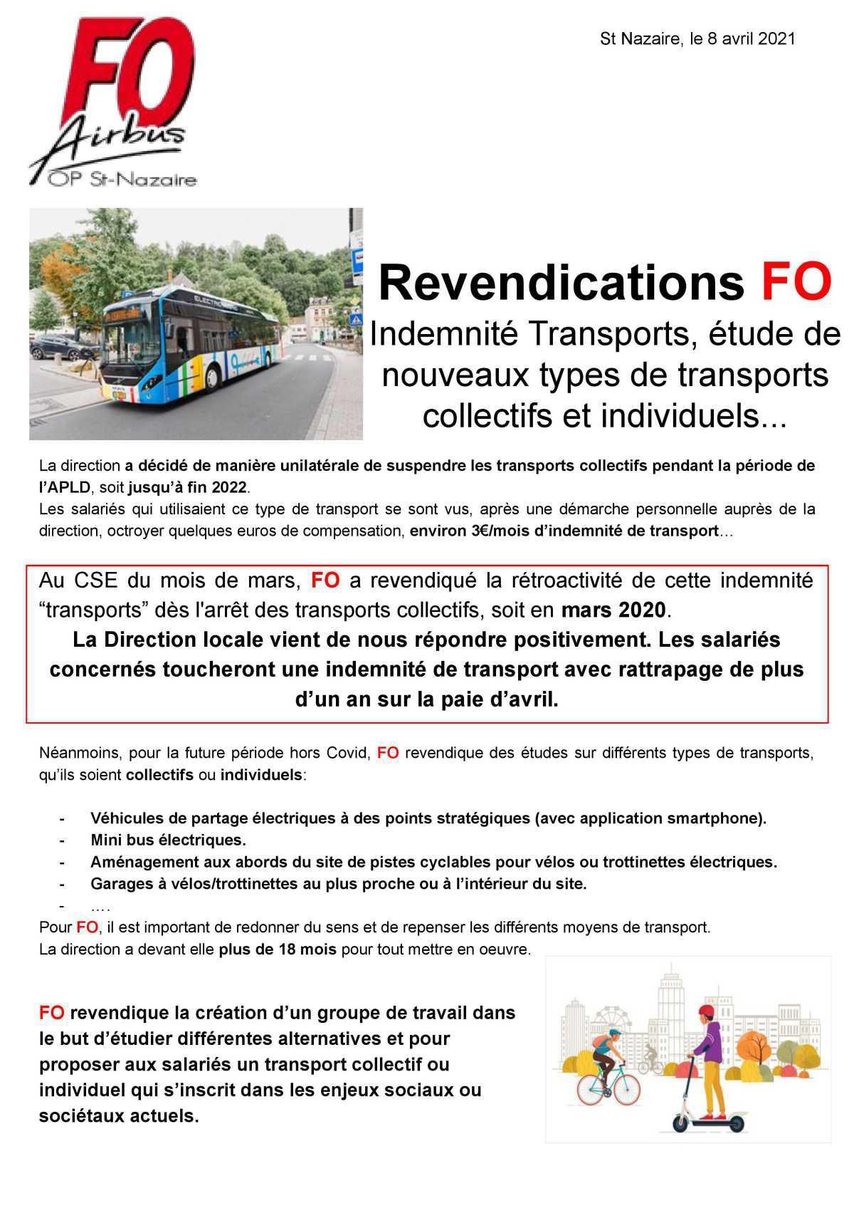 Réponse Direction prime transport