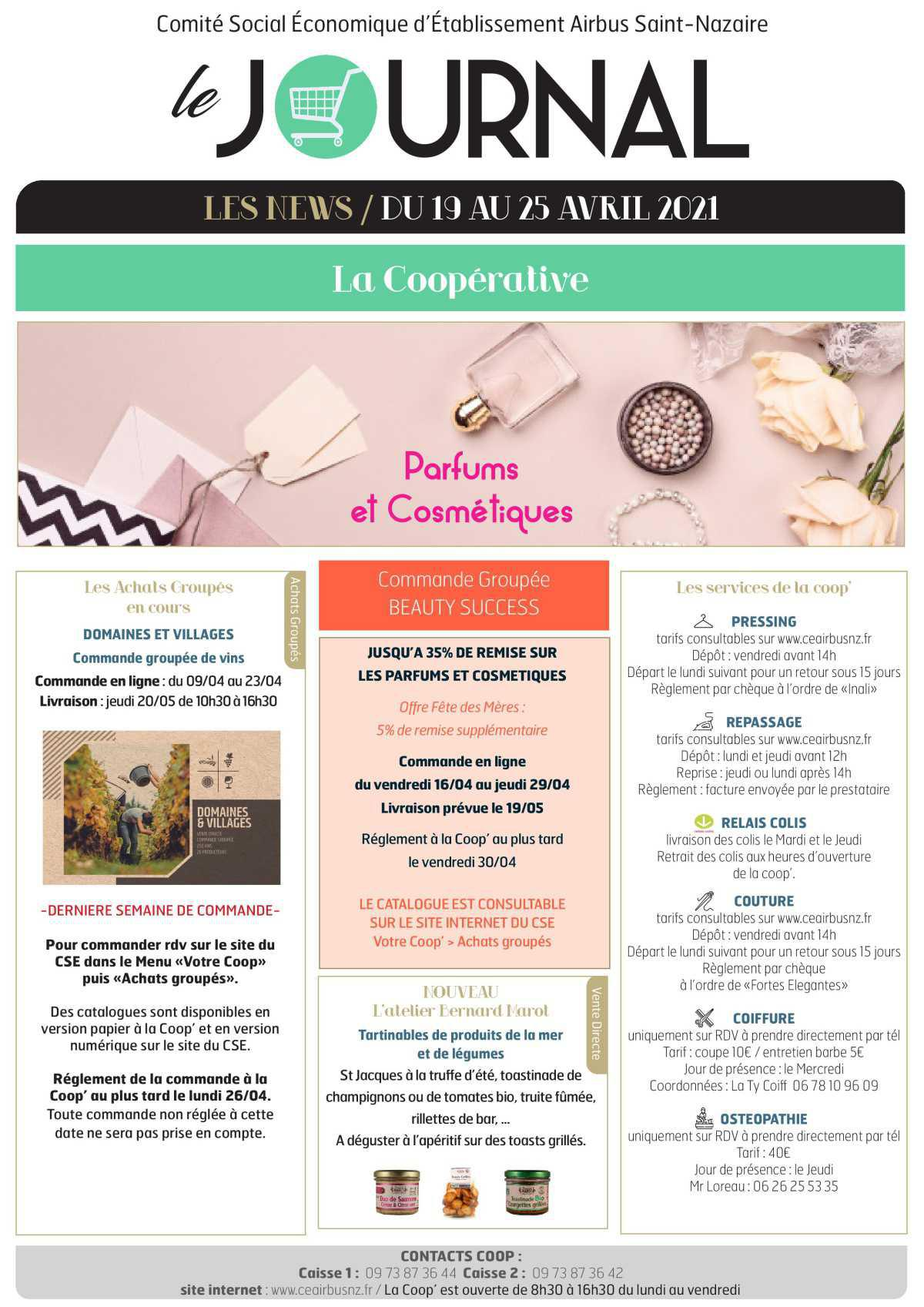 Informations du CSE et de la coopérative semaine 16
