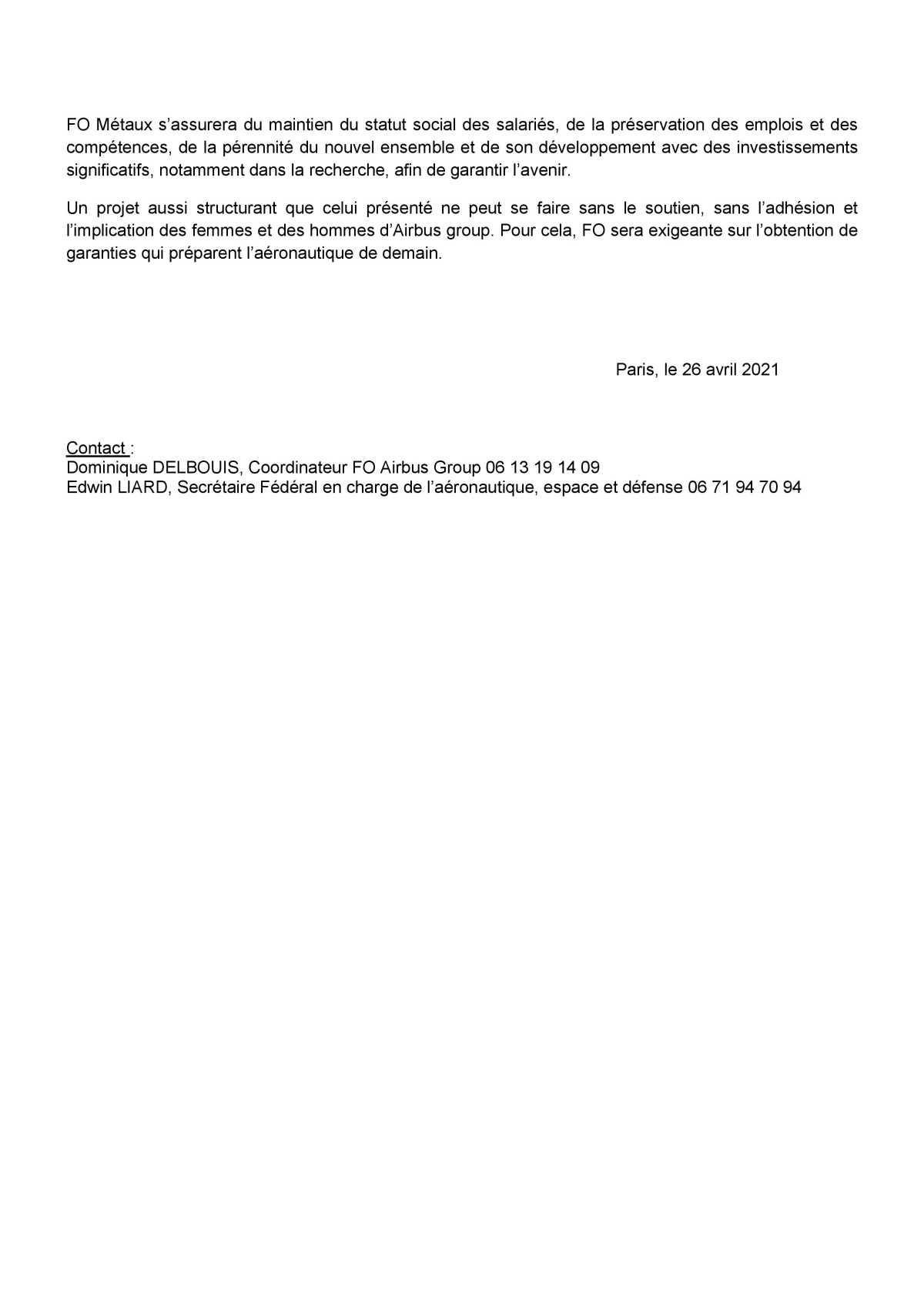 Communiqué de presse: Réorganisation industrielle, FO demande des garanties