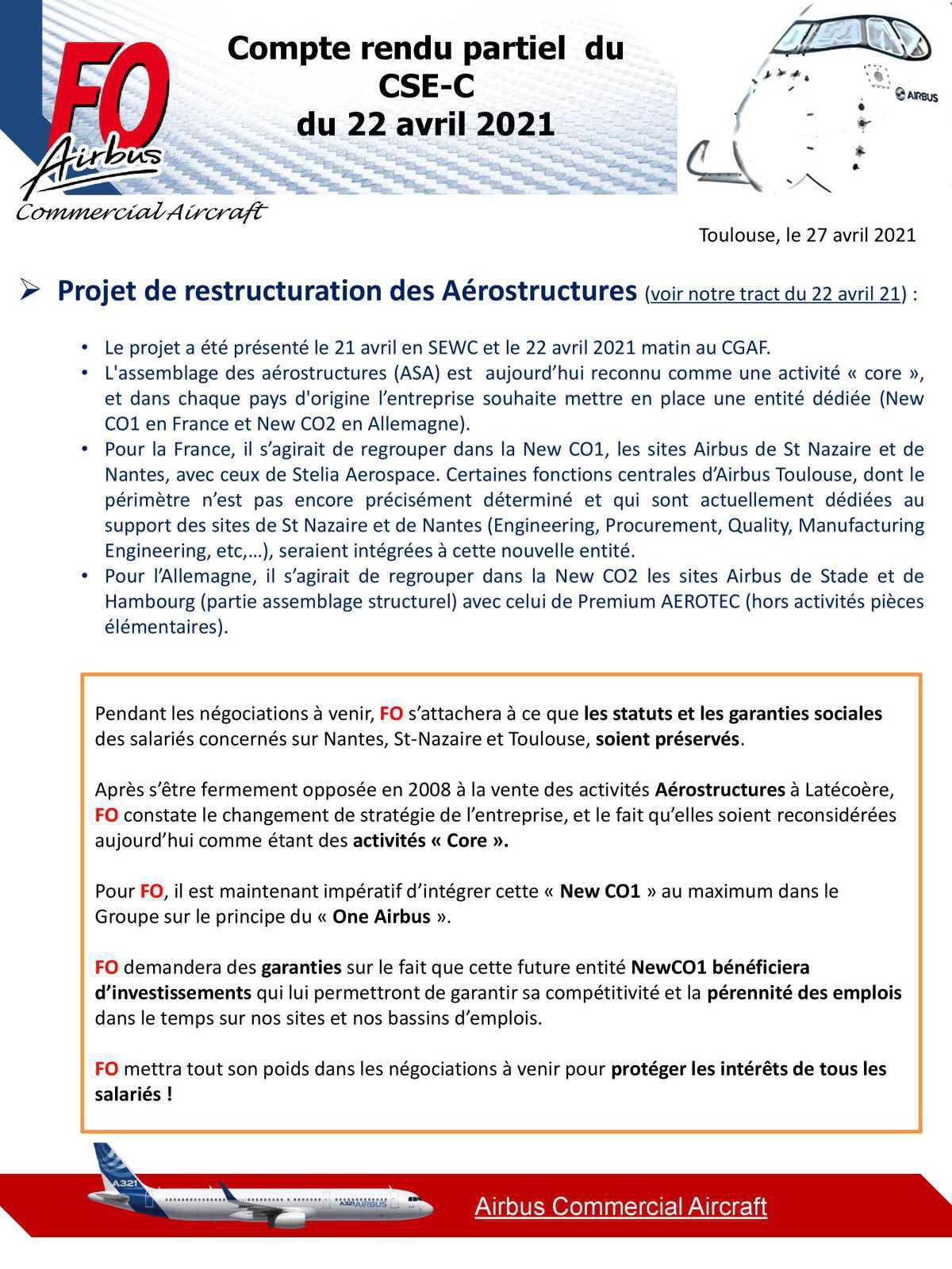 Compte rendu CSE-C du 22 Avril 2021