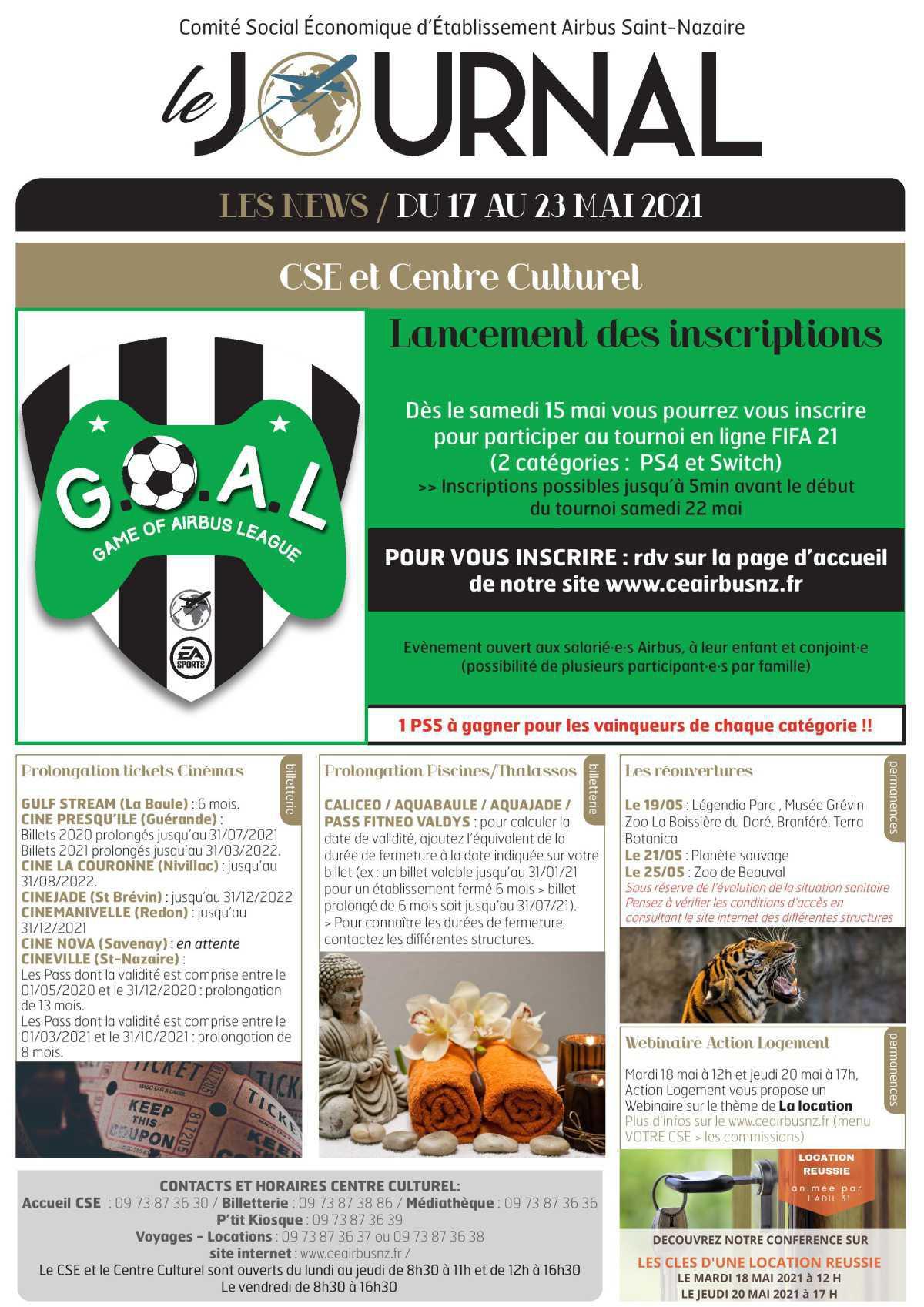 Informations du CSE et de la coop semaine 20