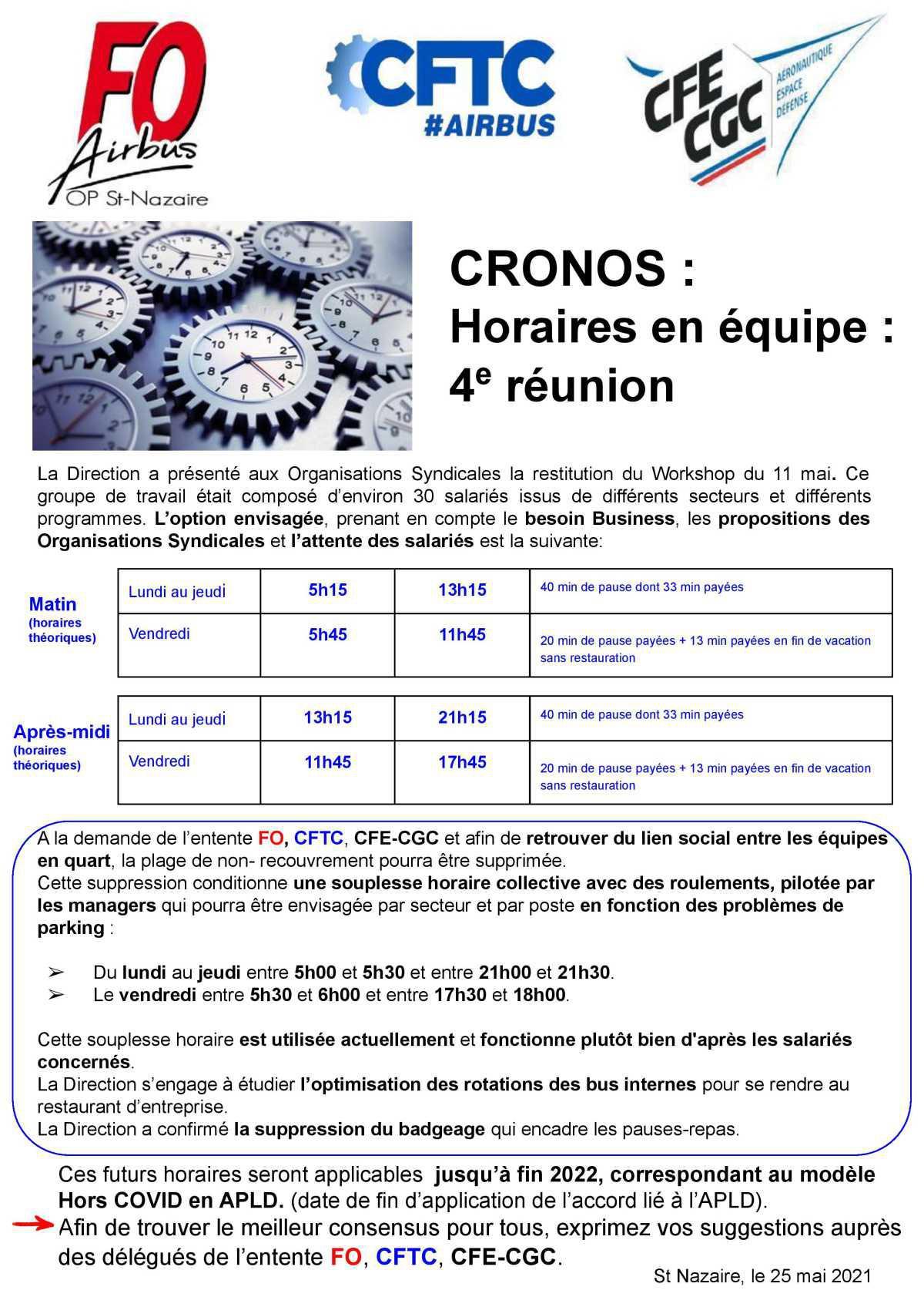 CRONOS : Horaires en équipe - 4ème réunion
