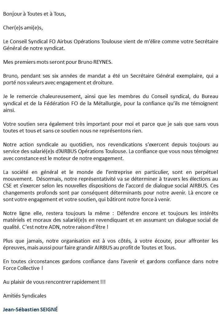 Nouveau Secrétaire Général FO Airbus Toulouse, Jean-Sébastien SEIGNÉ.
