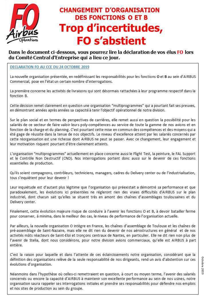 Réorganisation des Fonctions O et B, FO s'abstient