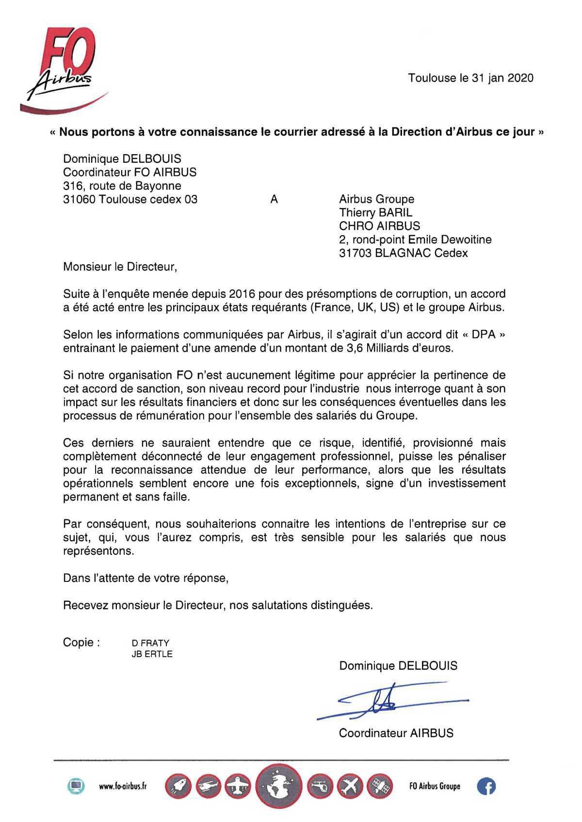 Nous portons à votre connaissance le courrier adressé à la Direction d'Airbus ce jour