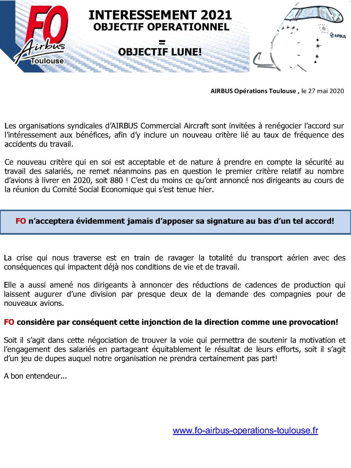 Intéressement 2021 / Objectif Opérationnel=Objectif Lune