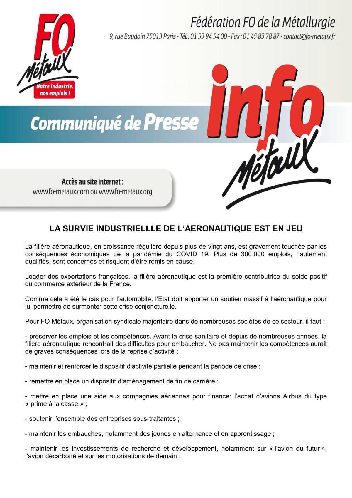 Communiqué de presse FO Métaux