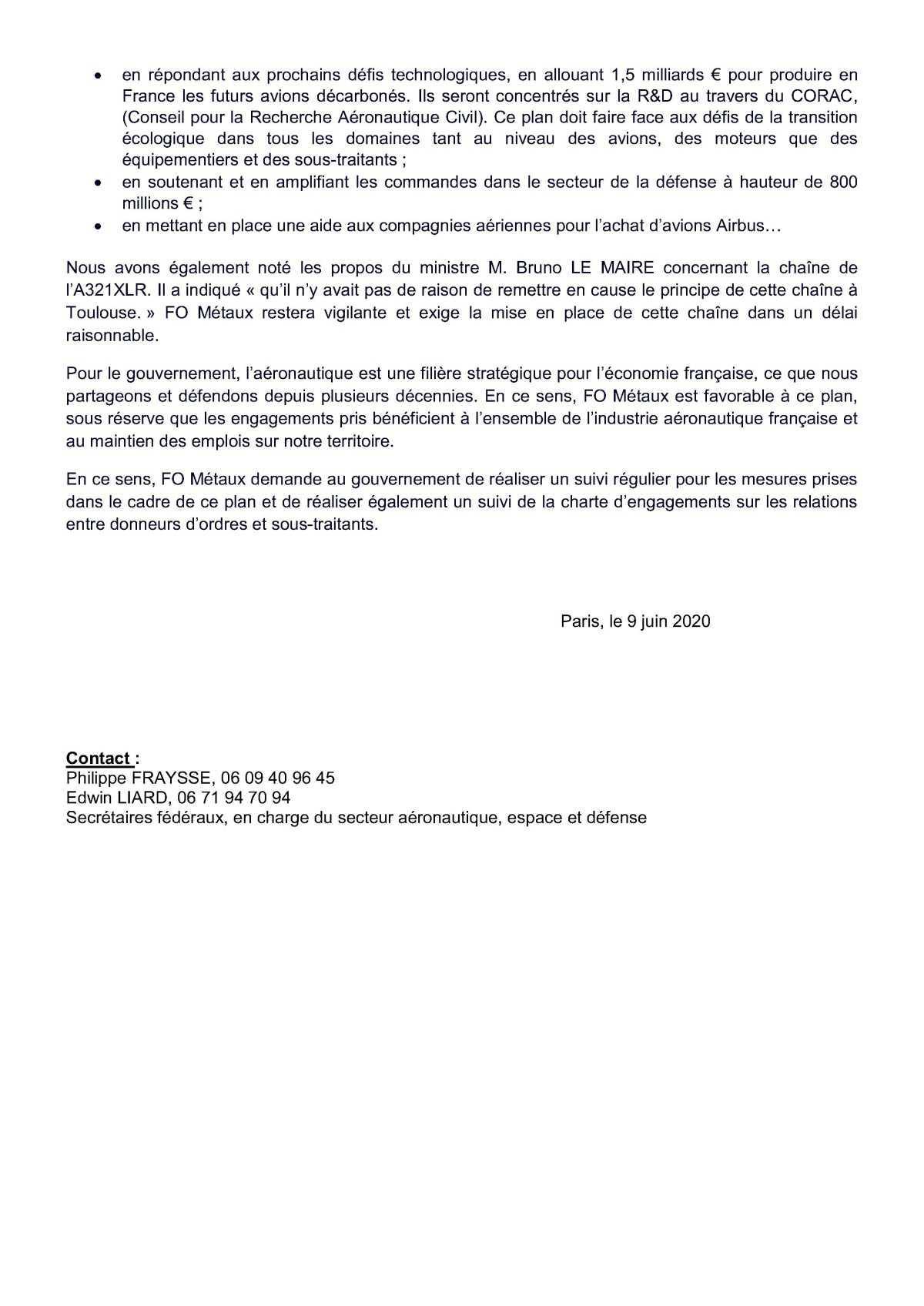 FO Métaux favorable au plan de soutien à l'Aéronautique