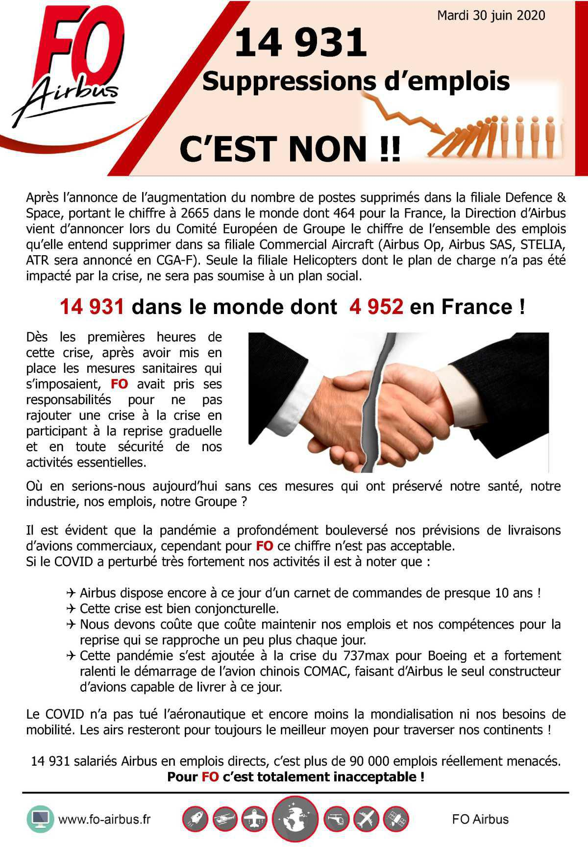 14931 Suppressions d'emplois C'EST NON !!