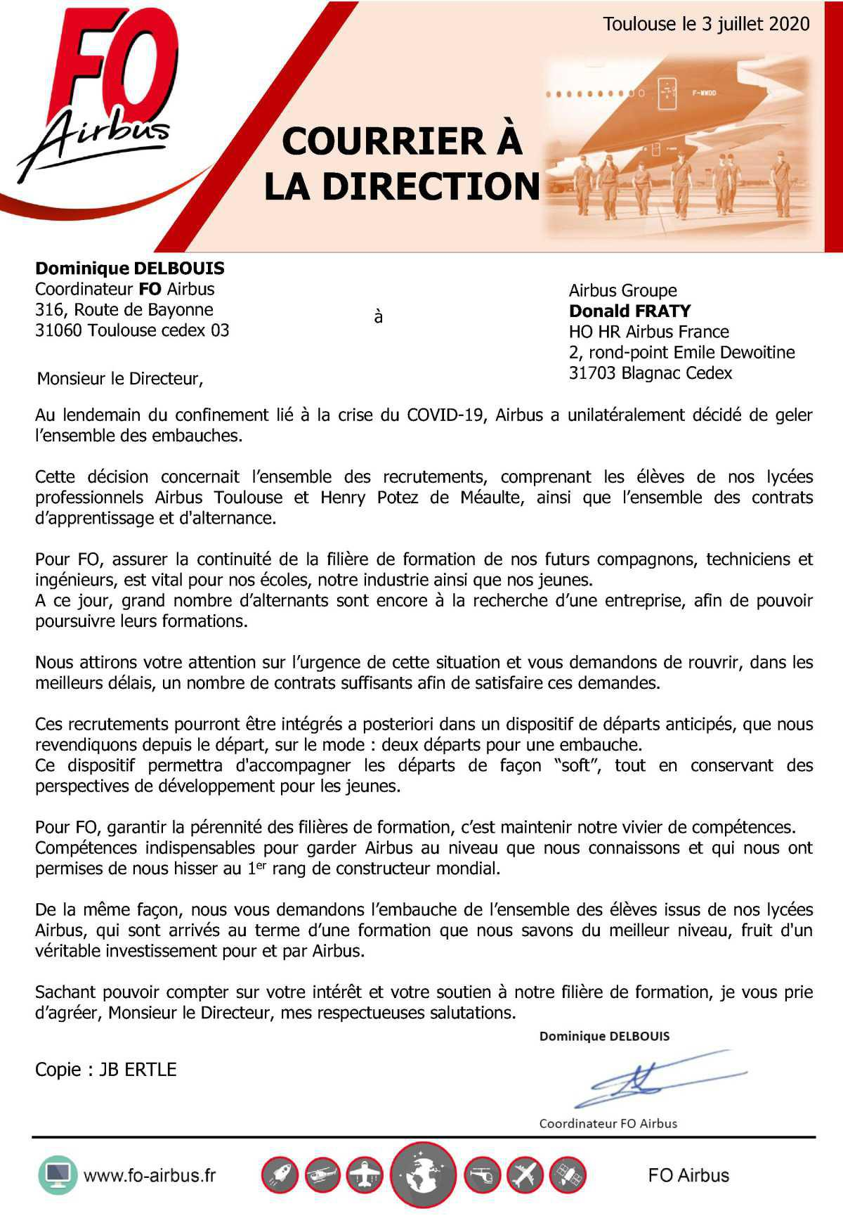 Courrier à la Direction