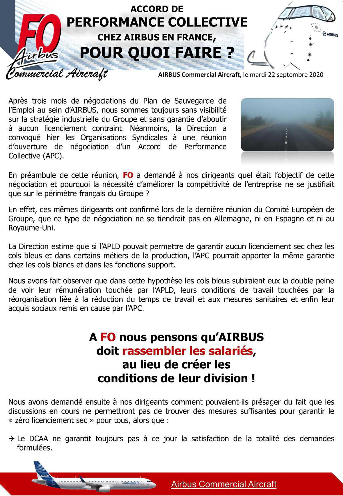 ACCORD DE PERFORMANCE COLLECTIVE (APC) CHEZ AIRBUS EN FRANCE, POUR QUOI FAIRE?